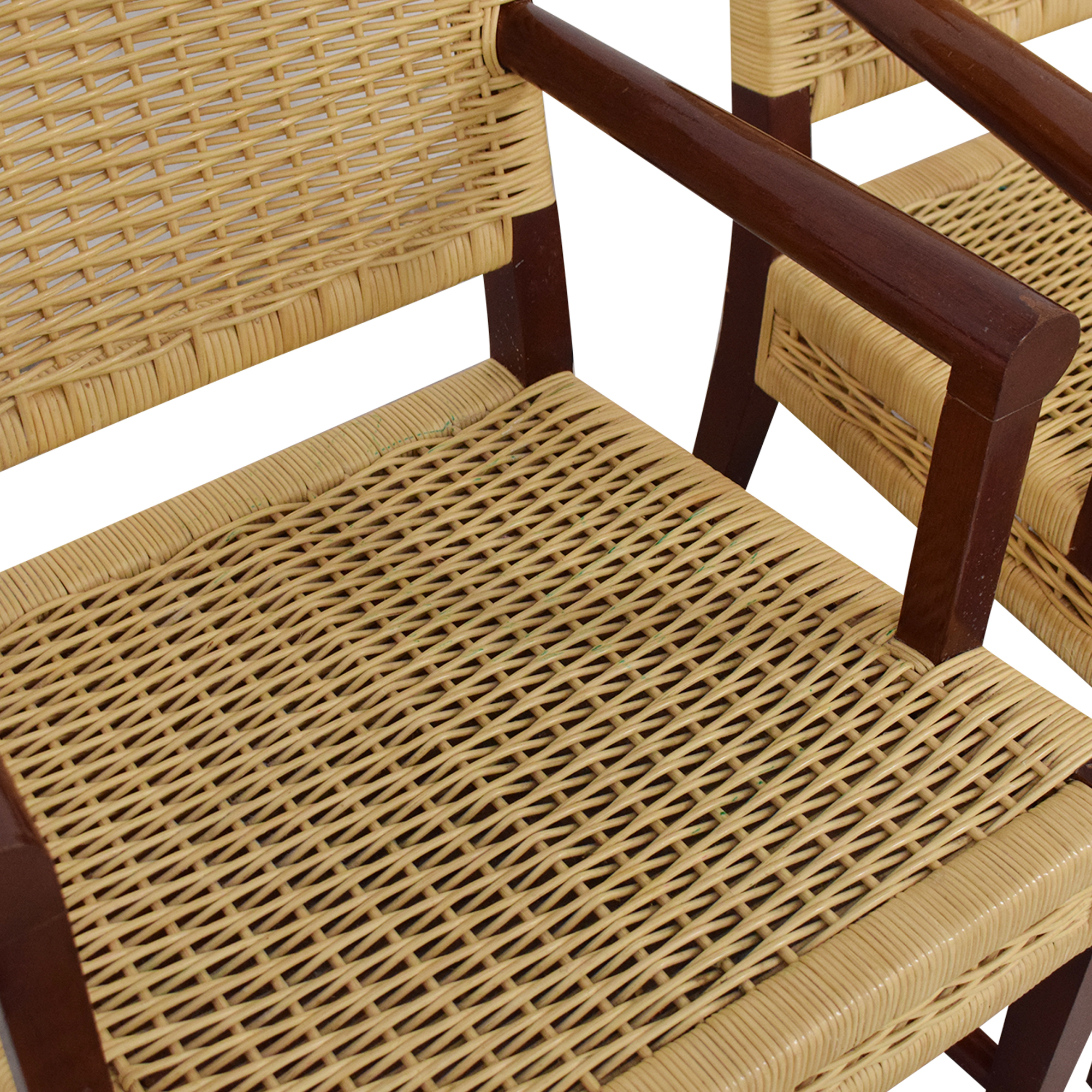 shop Donghia Dining Chairs in Merbau Wood with Raffia Weaving Donghia Chairs