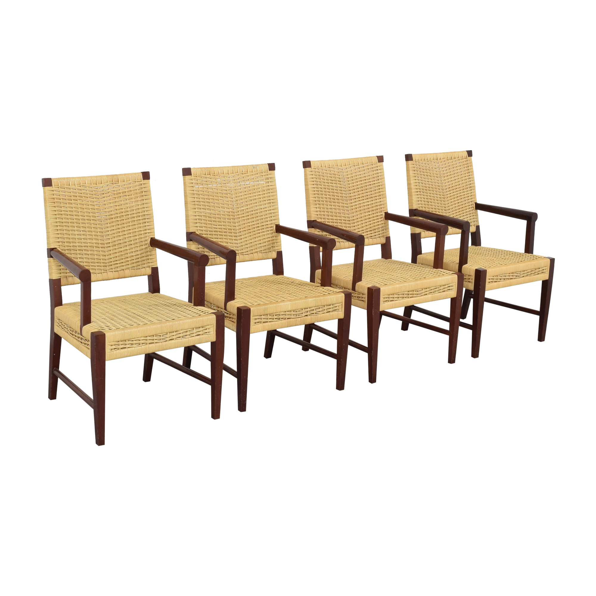 Donghia Donghia Dining Chairs in Merbau Wood with Raffia Weaving pa