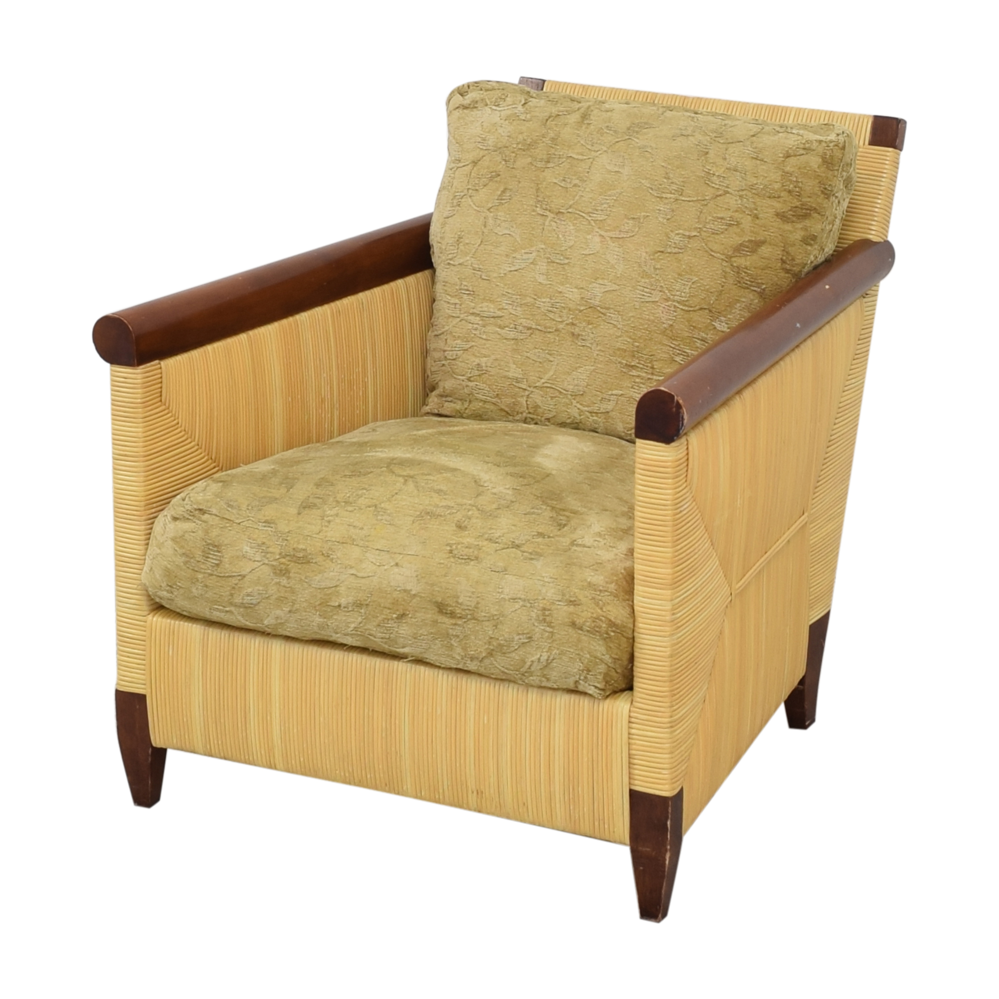 Donghia by John Hutton Mahogany and Wicker Lounger sale