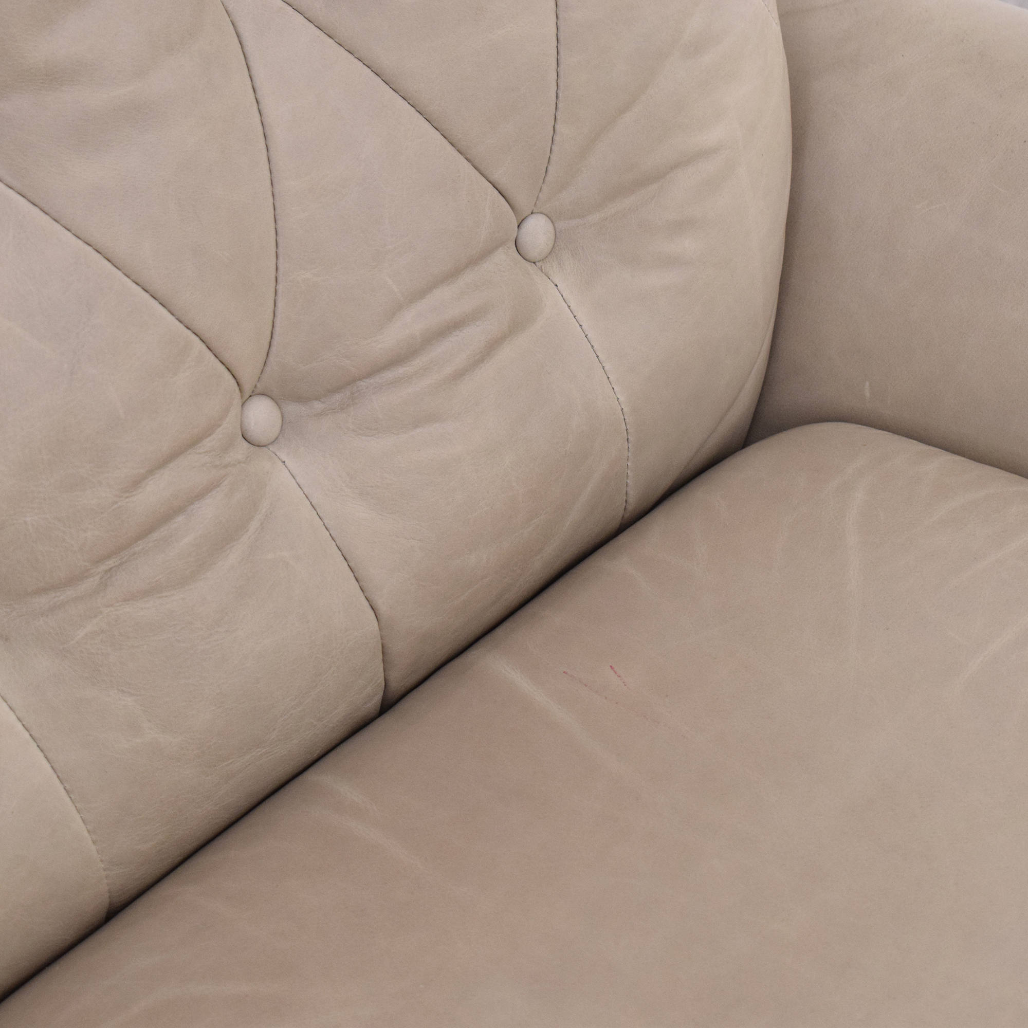 Pottery Barn Wells Leather Swivel Armchair / Accent Chairs