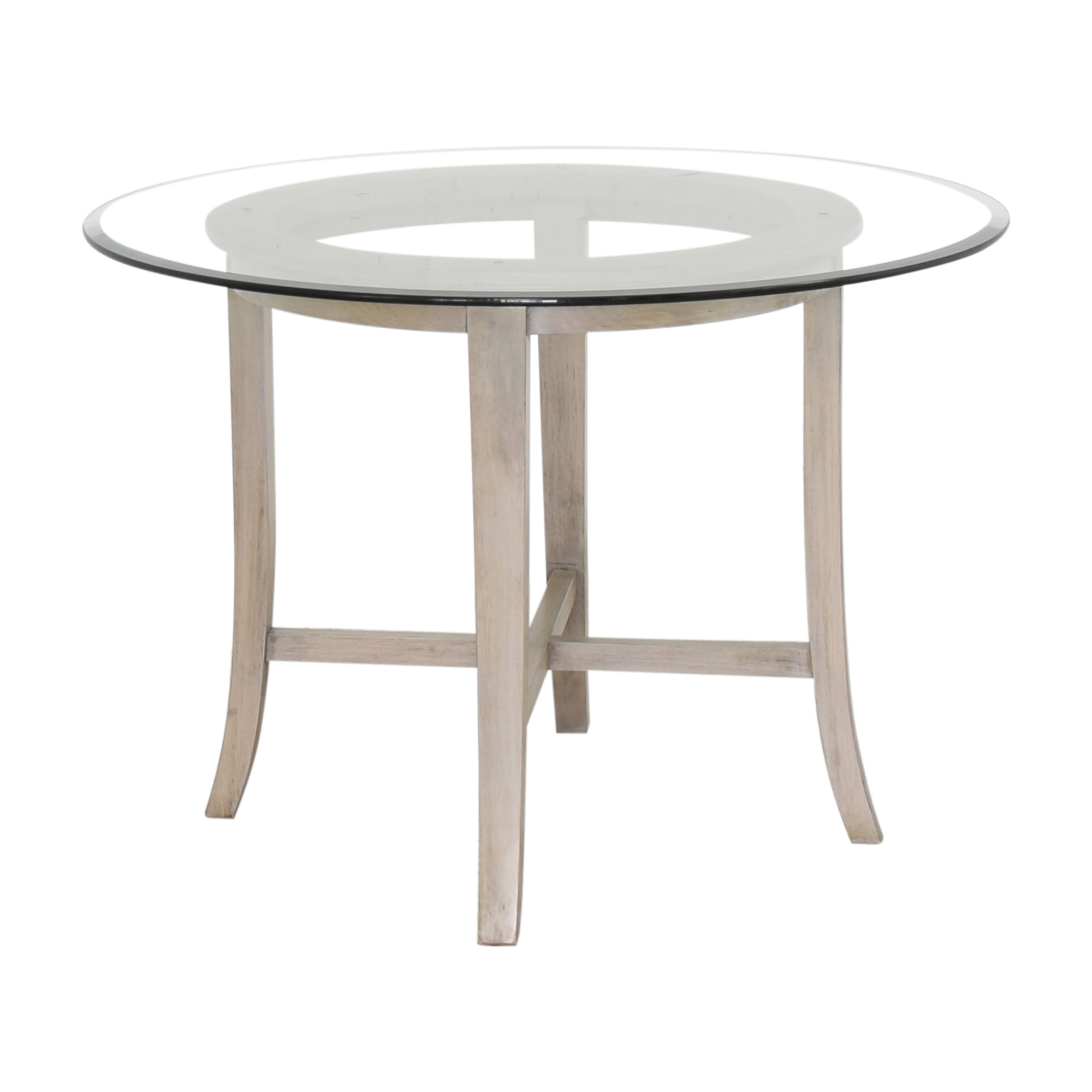 buy Crate & Barrel Halo Grey Round Dining Table with Glass Top Crate & Barrel Tables