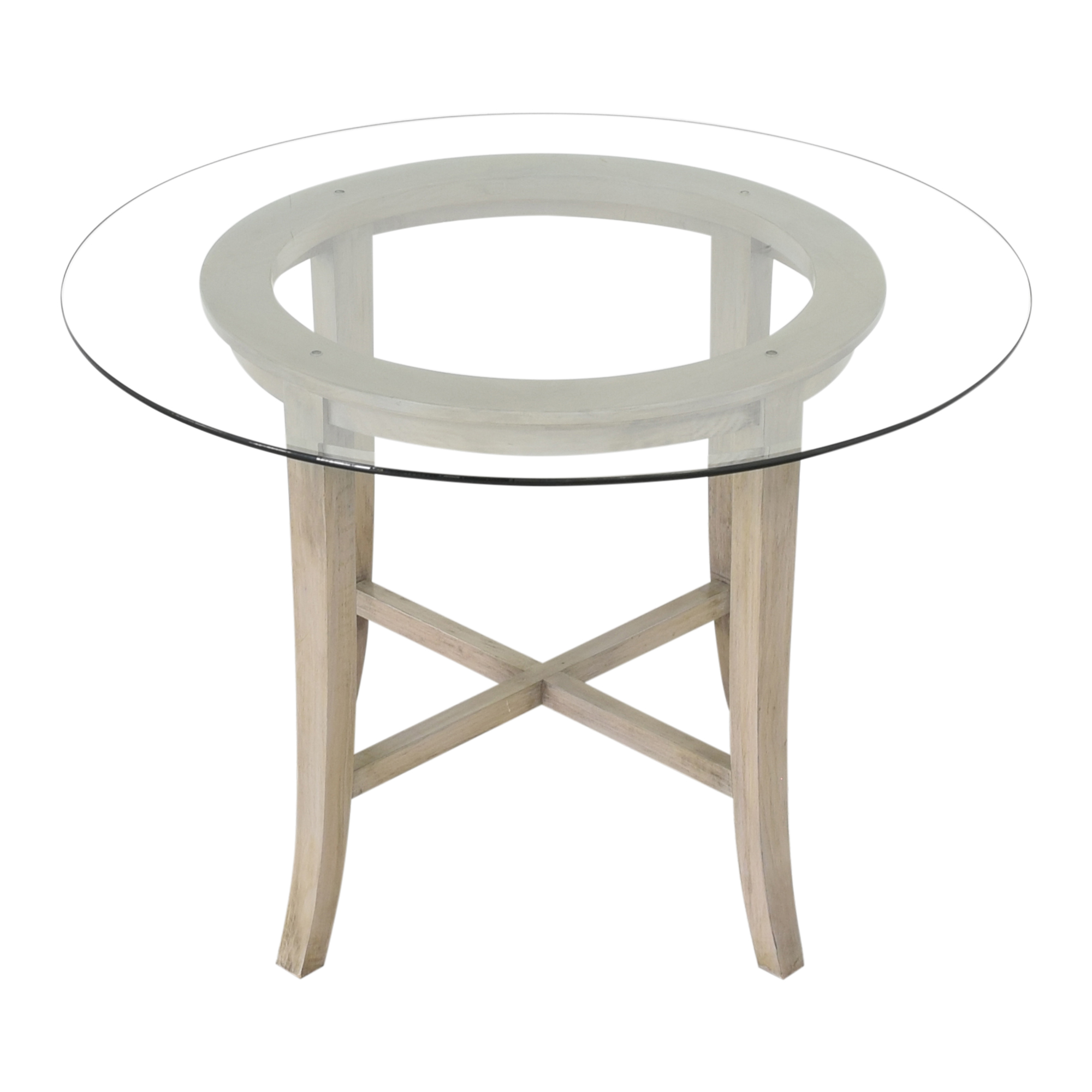 Crate & Barrel Halo Grey Round Dining Table with Glass Top / Tables