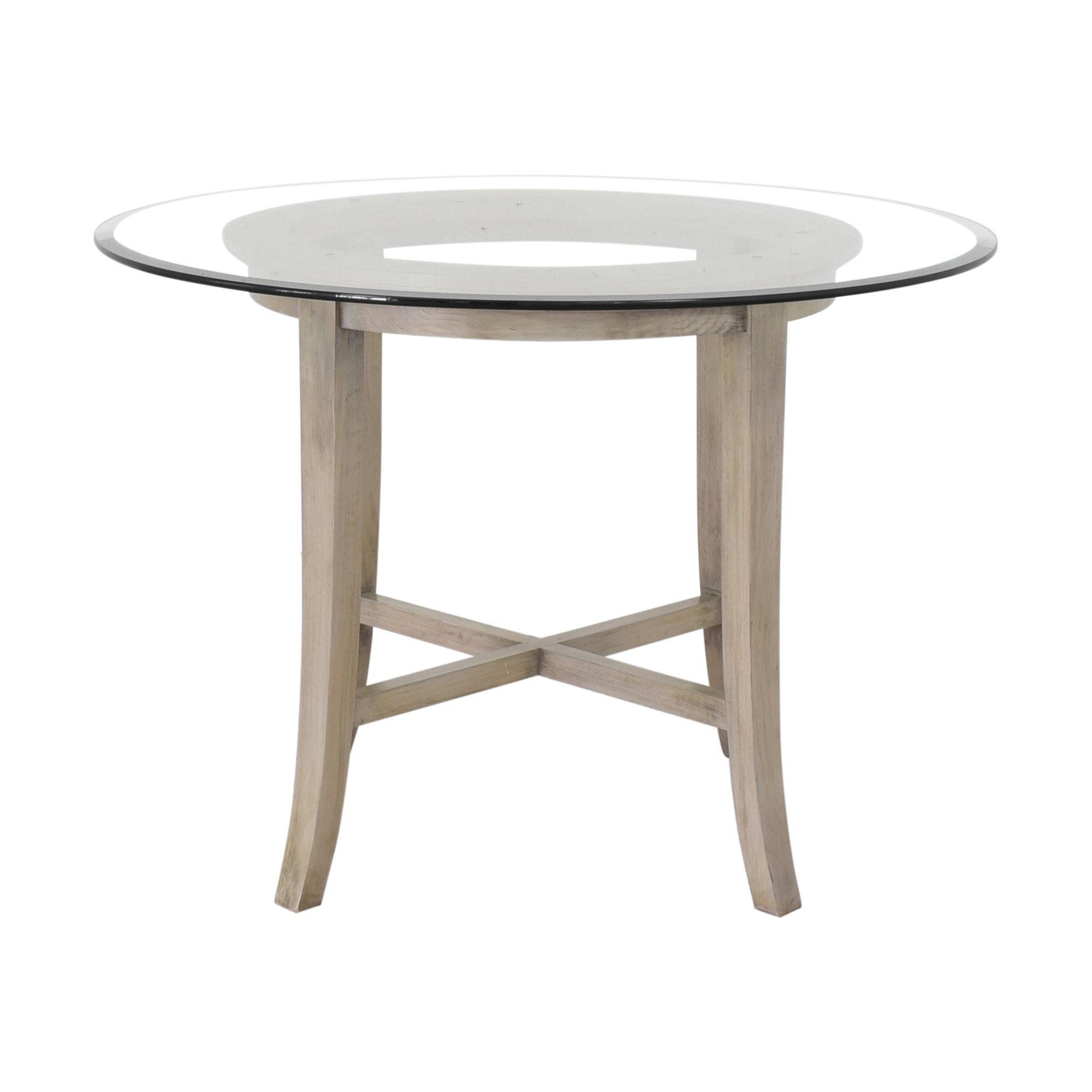 Crate & Barrel Crate & Barrel Halo Grey Round Dining Table with Glass Top on sale