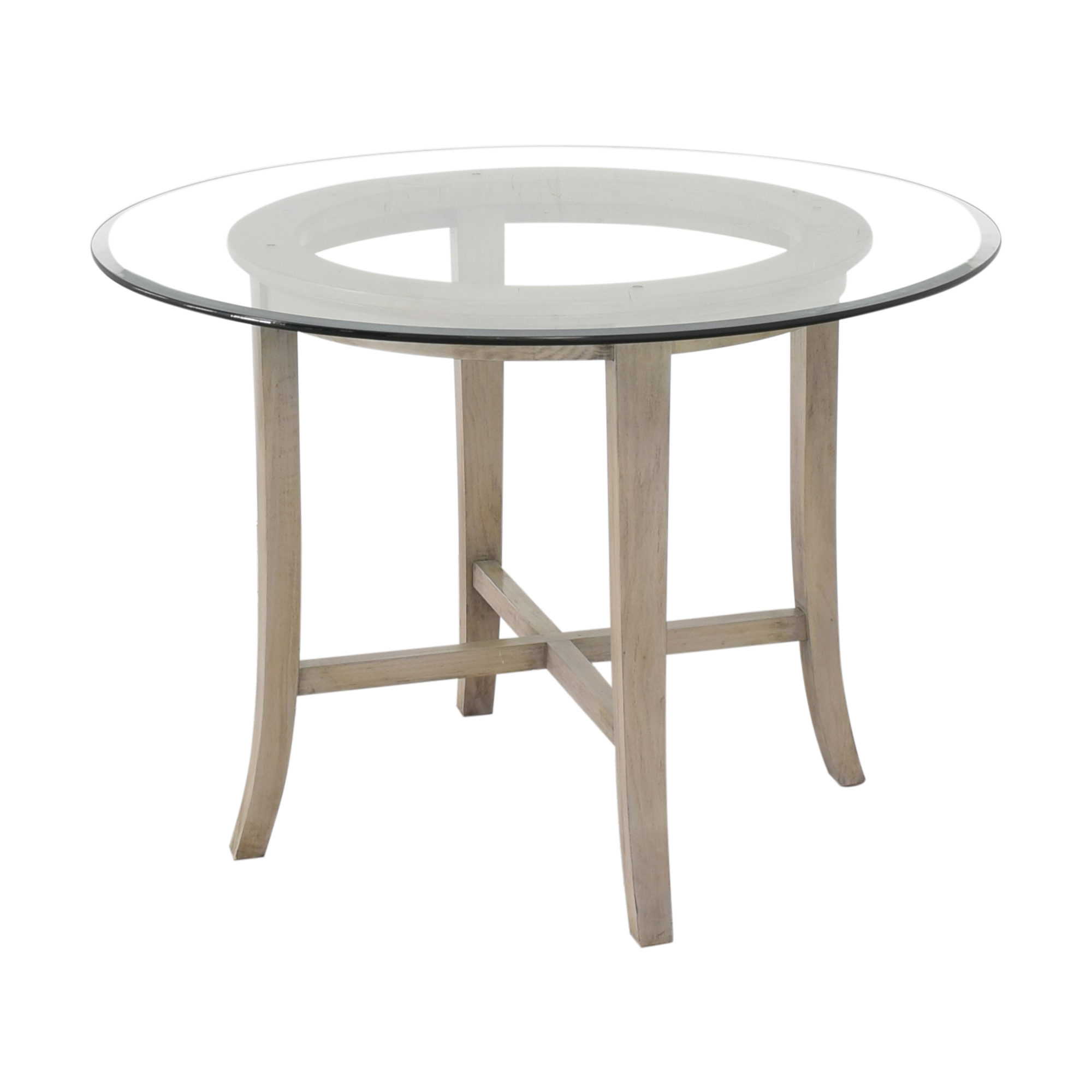 buy Crate & Barrel Halo Grey Round Dining Table with Glass Top Crate & Barrel