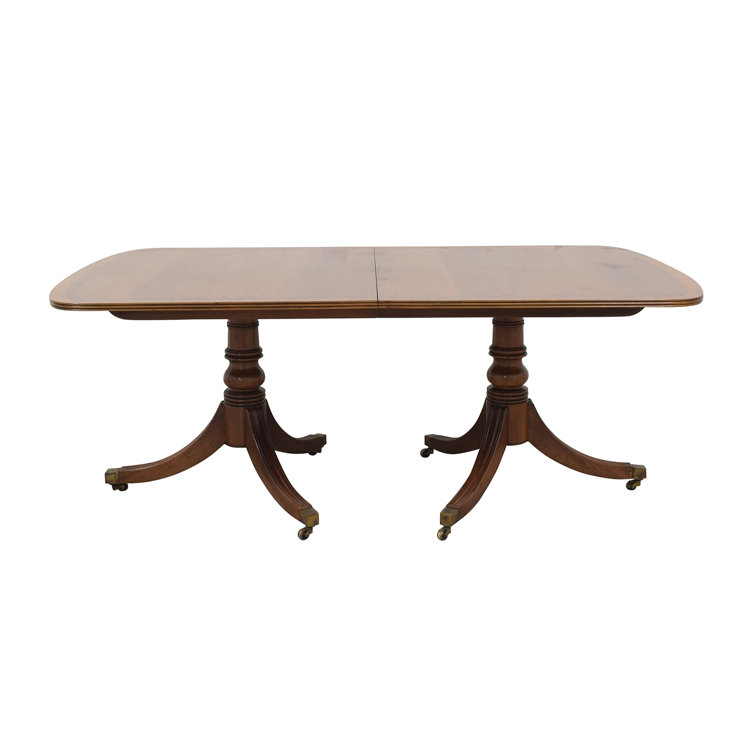 Henredon Furniture Henredon Fine Furniture Double Pedestal Dining Table with Banded Inlaid Top dimensions