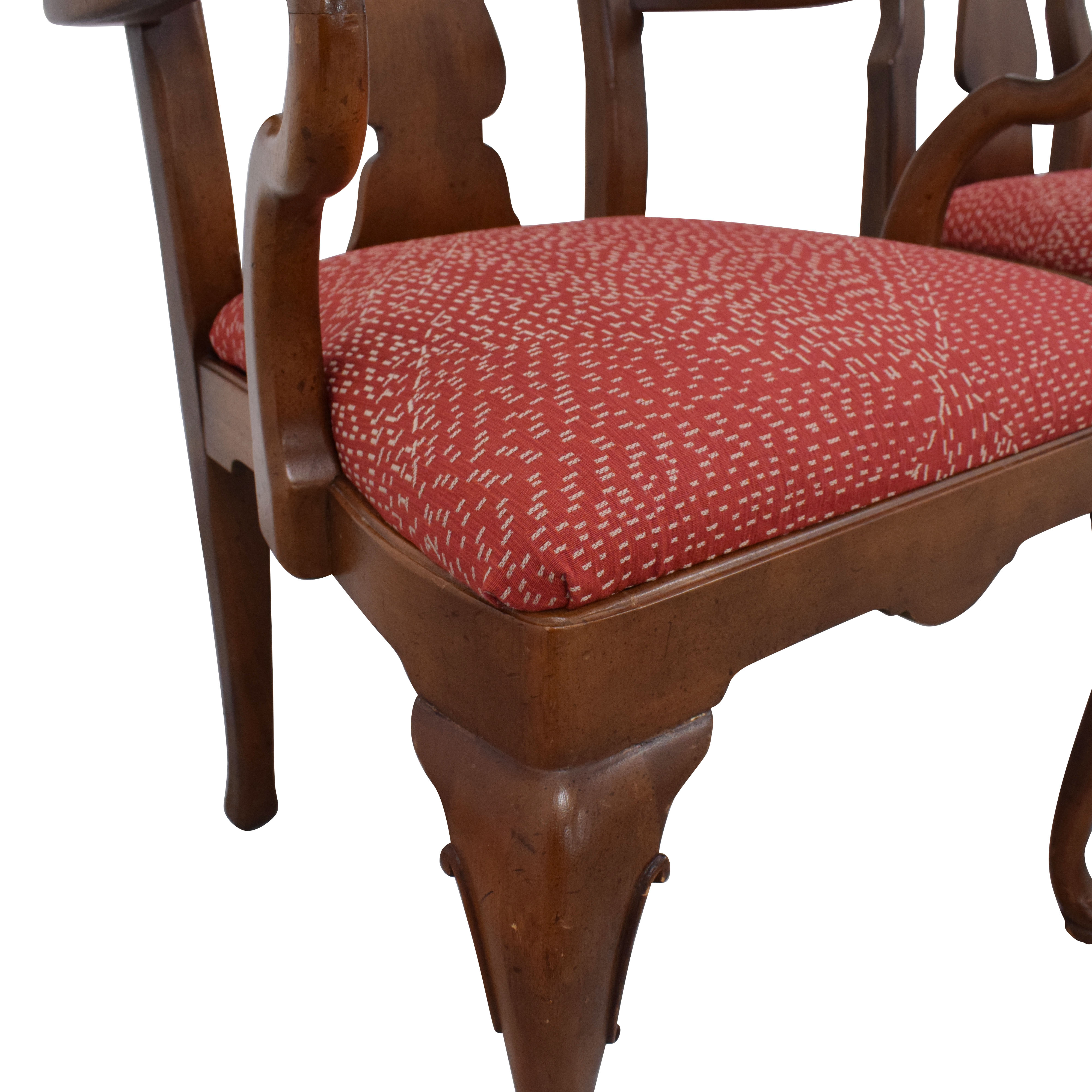 Henredon Furniture Henredon Queen Anne Chairs red & brown