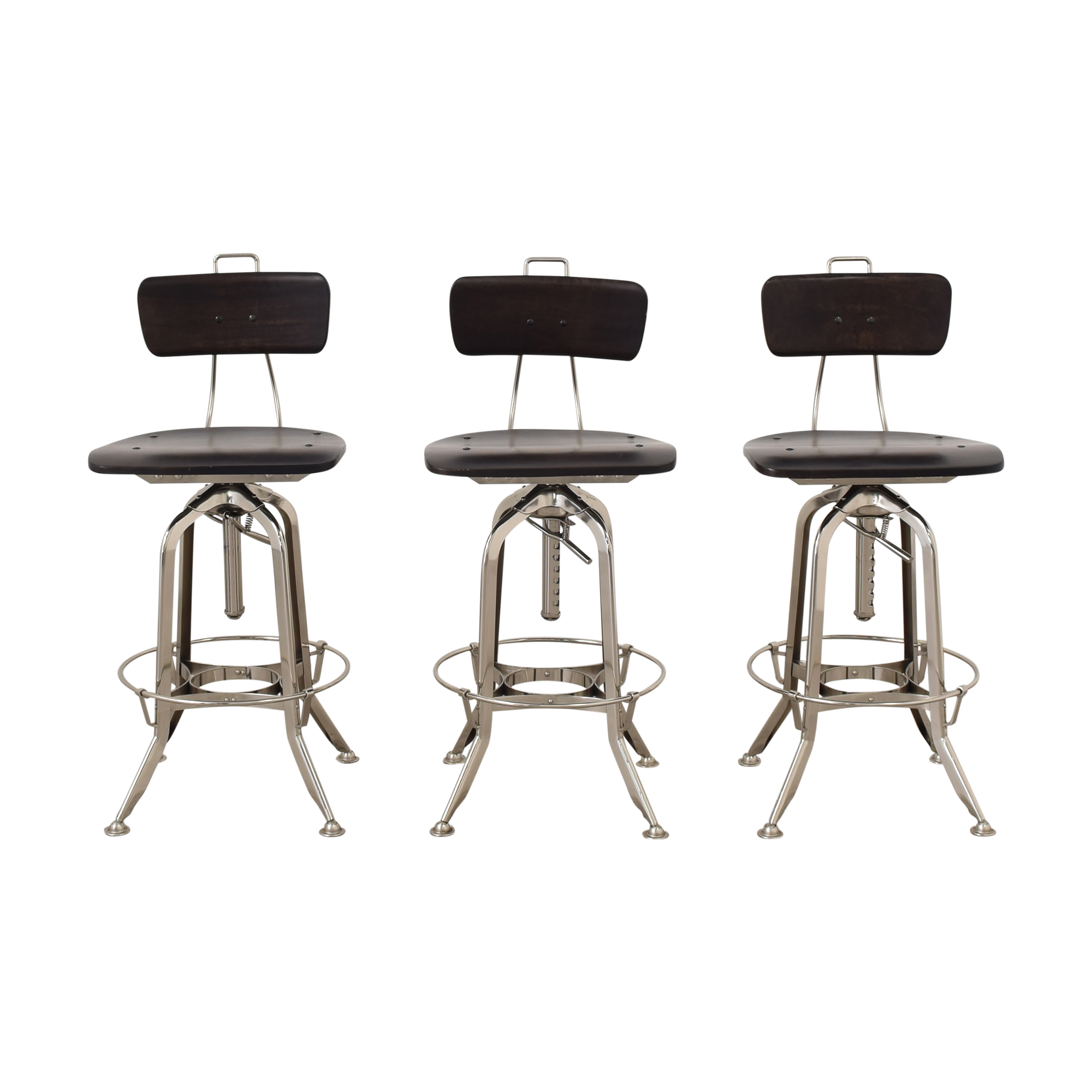 Restoration Hardware Restoration Hardware 1940s Vintage Toledo Bar Chairs dark brown & silver