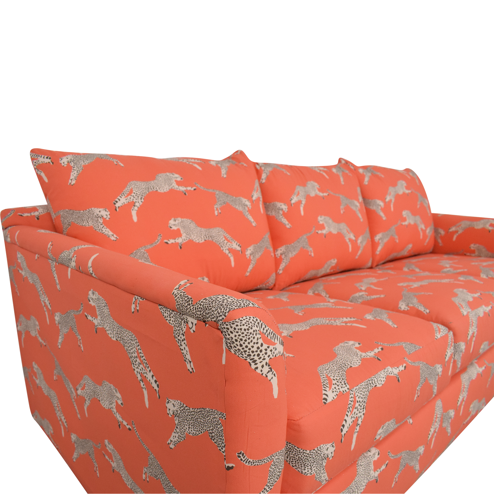 The Inside The Inside Tailored Sleeper Sofa in Coral Zebra by Scalamandré dimensions
