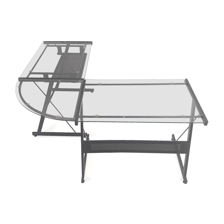 57 off office max l shape glass desk tables rh kaiyo com officemax glass l desk