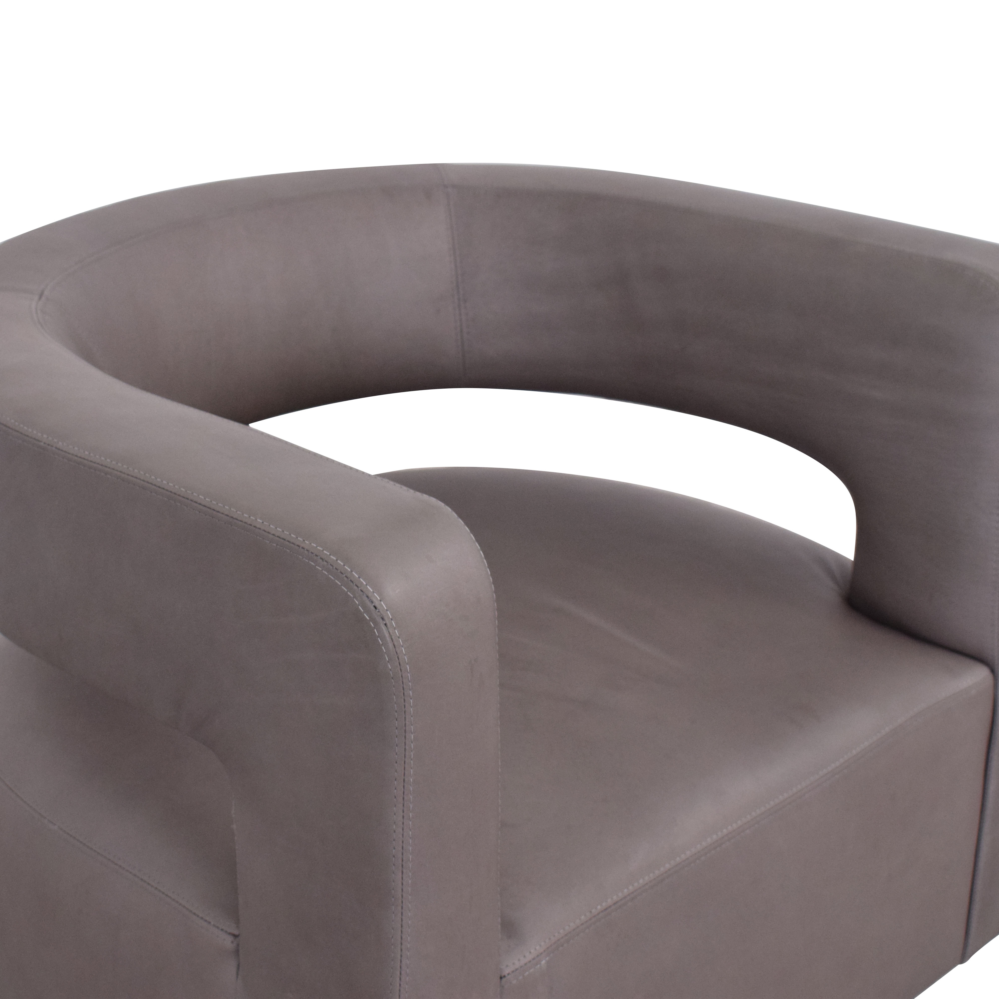 Restoration Hardware Restoration Hardware Drew Curved Leather Swivel Chair on sale