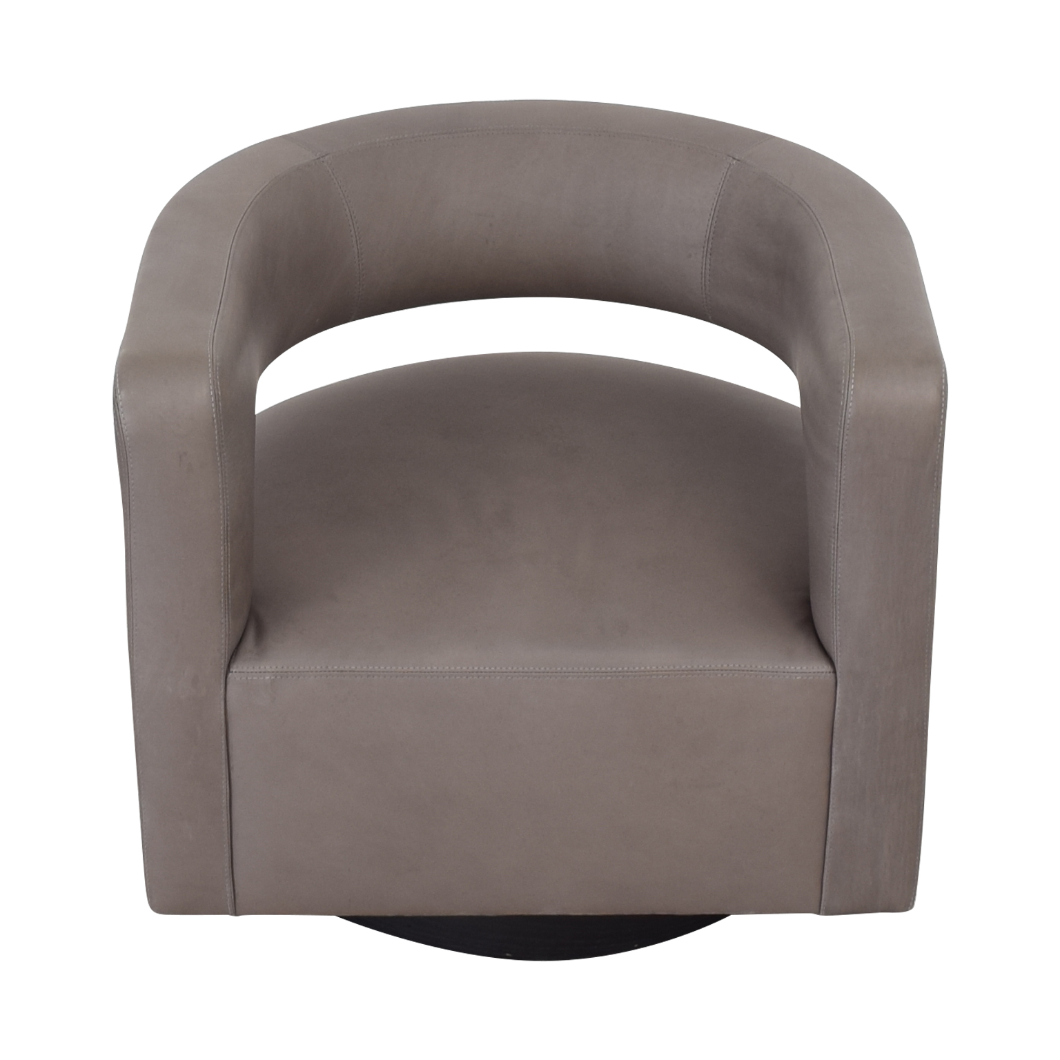 Restoration Hardware Restoration Hardware Drew Curved Leather Swivel Chair second hand