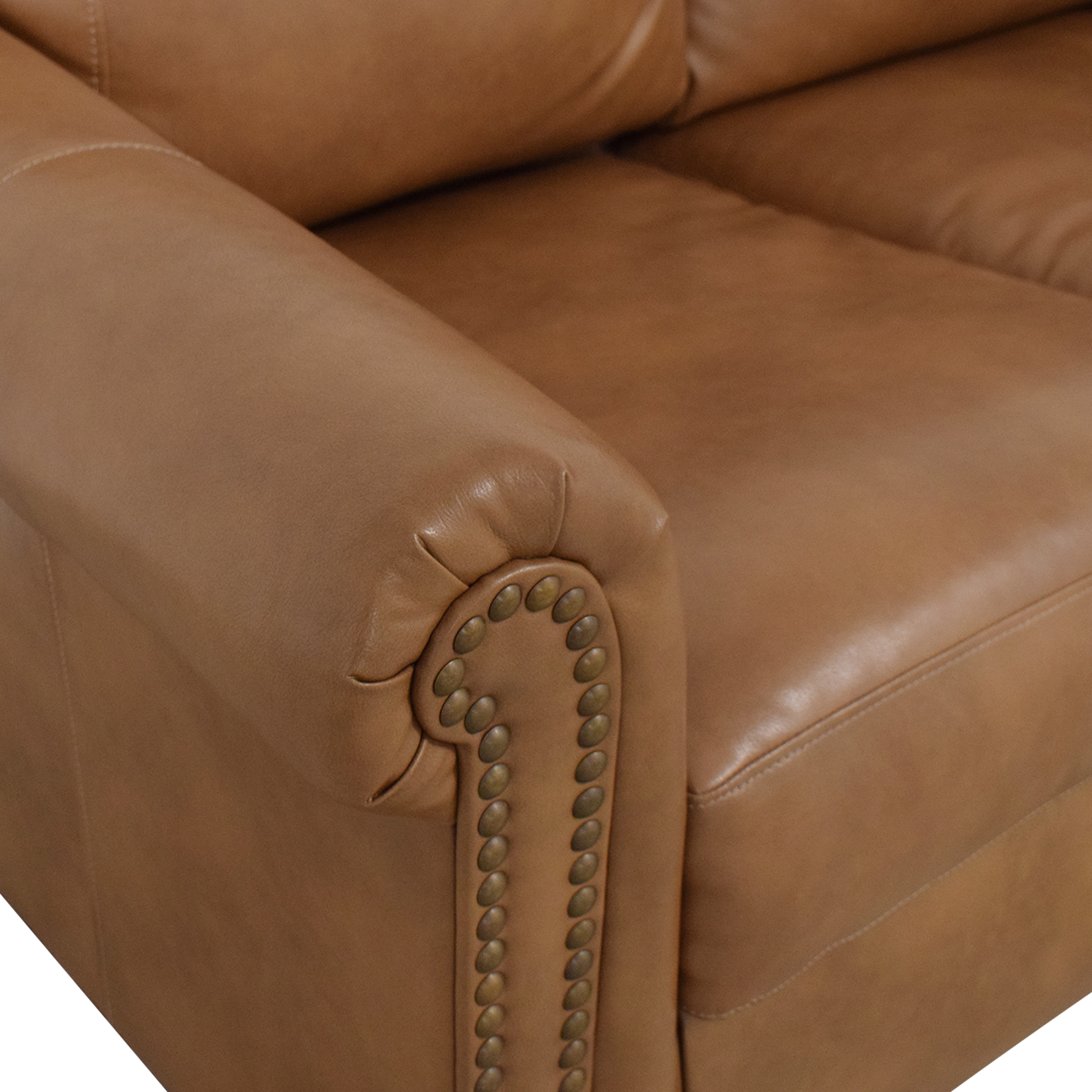 Overstock Overstock Caramel Leather Twin Pull Out Sofa pa