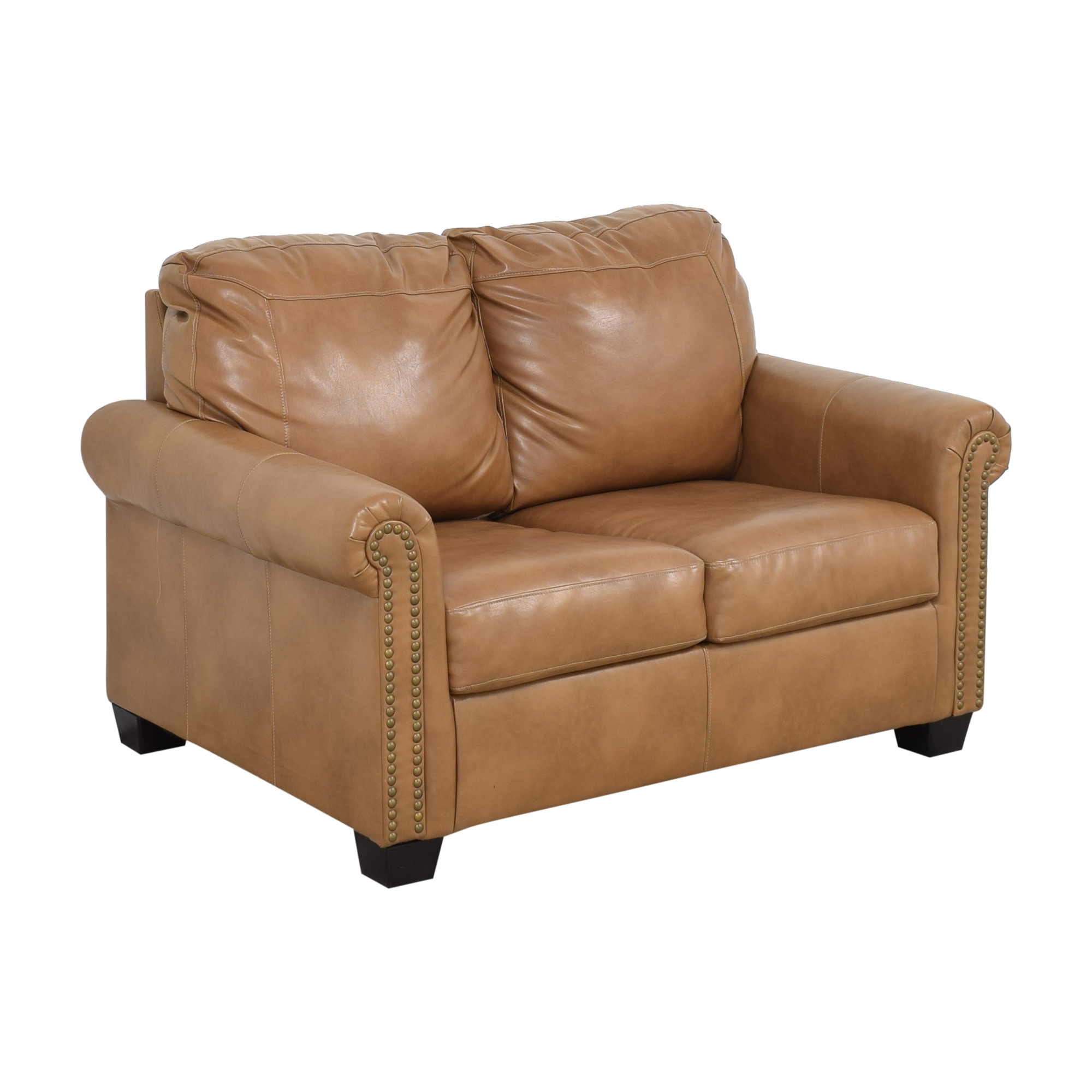 Overstock Overstock Caramel Leather Twin Pull Out Sofa used