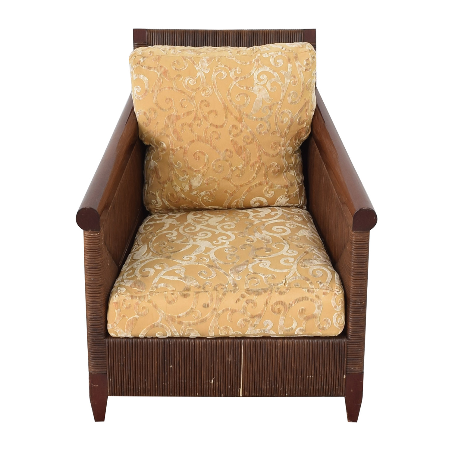 shop Donghia by John Hutton Mahogany and Wicker Lounger Donghia Accent Chairs