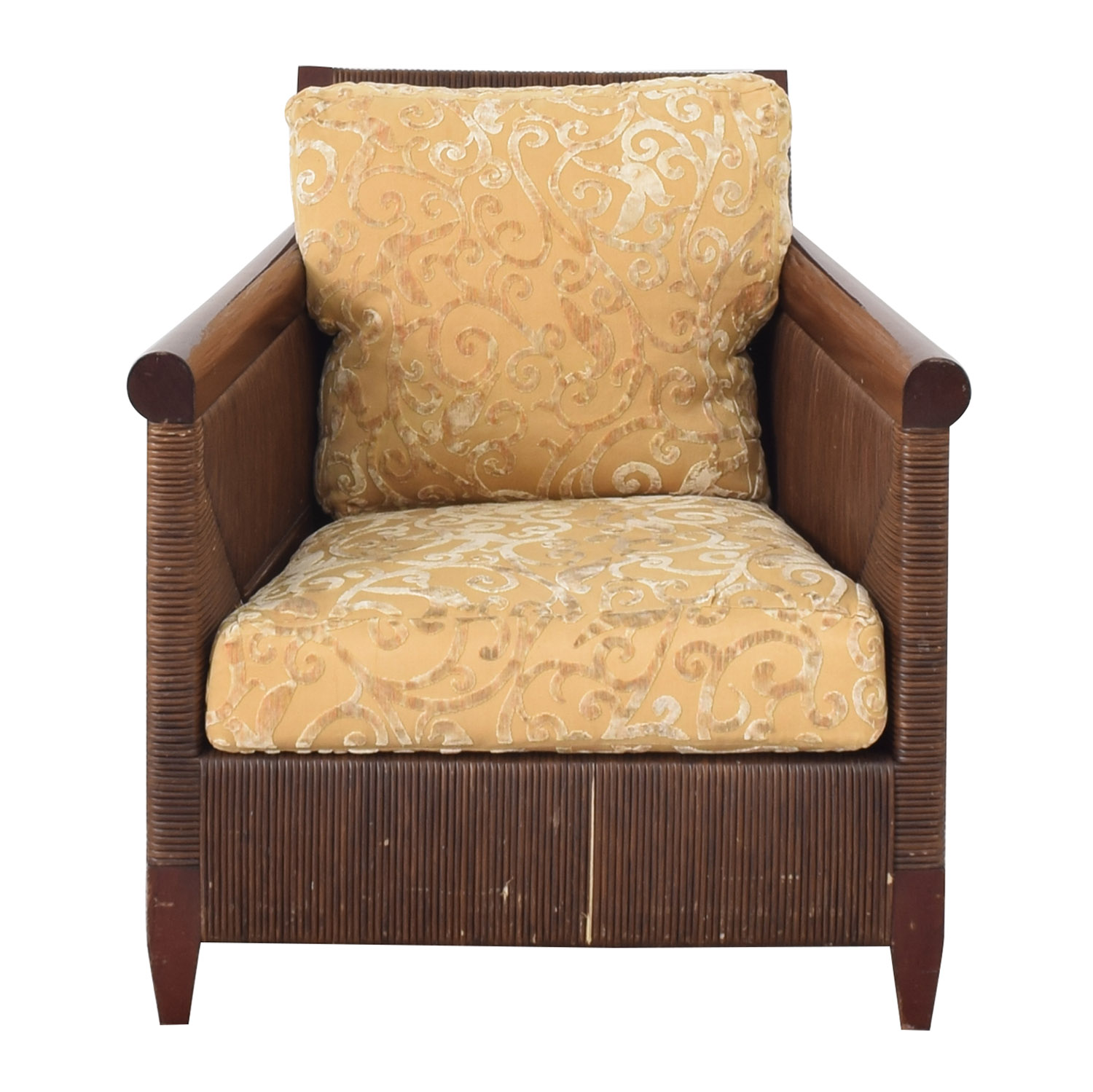 Donghia Donghia by John Hutton Mahogany and Wicker Lounger Chairs