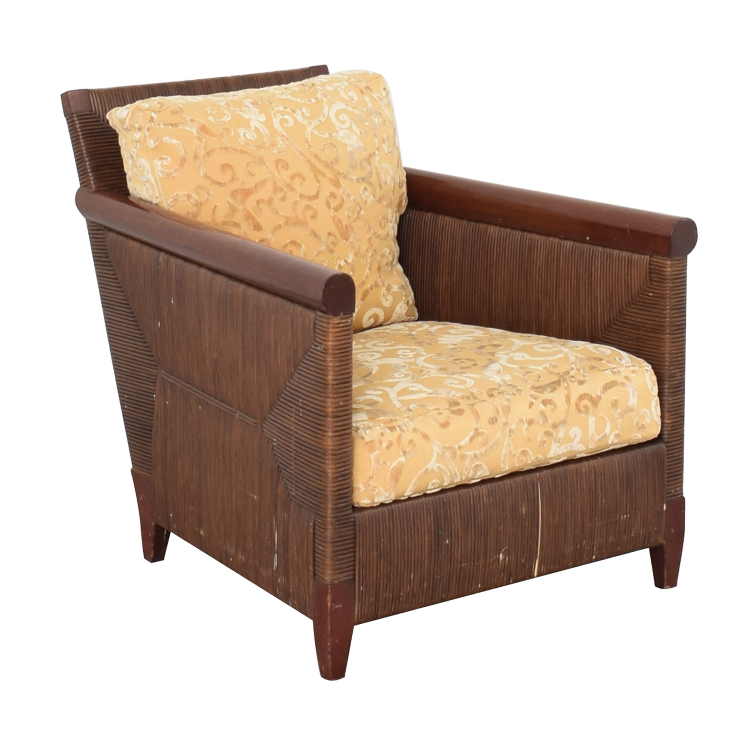 Donghia by John Hutton Mahogany and Wicker Lounger / Chairs