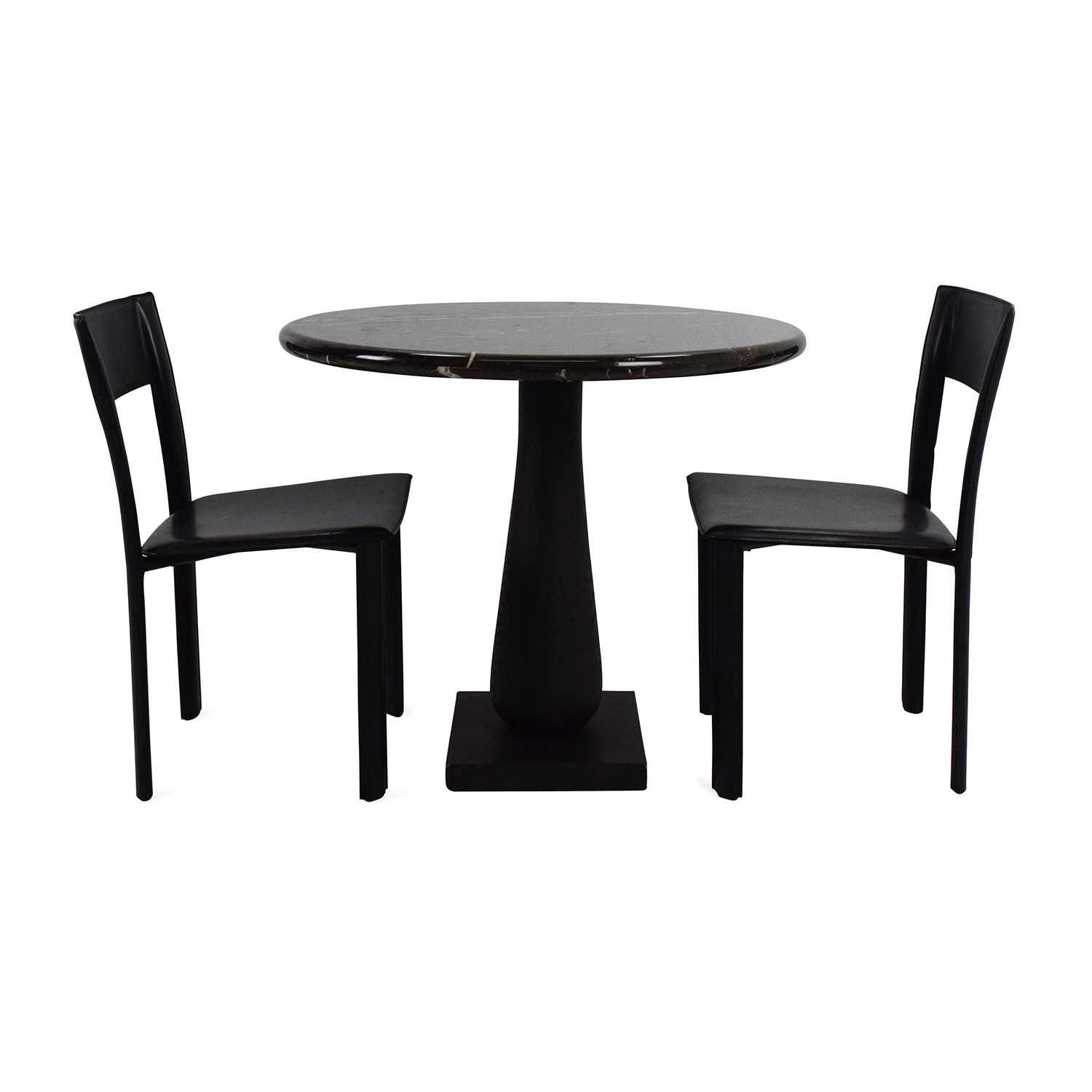 Marble Dinner Table and Chairs Black