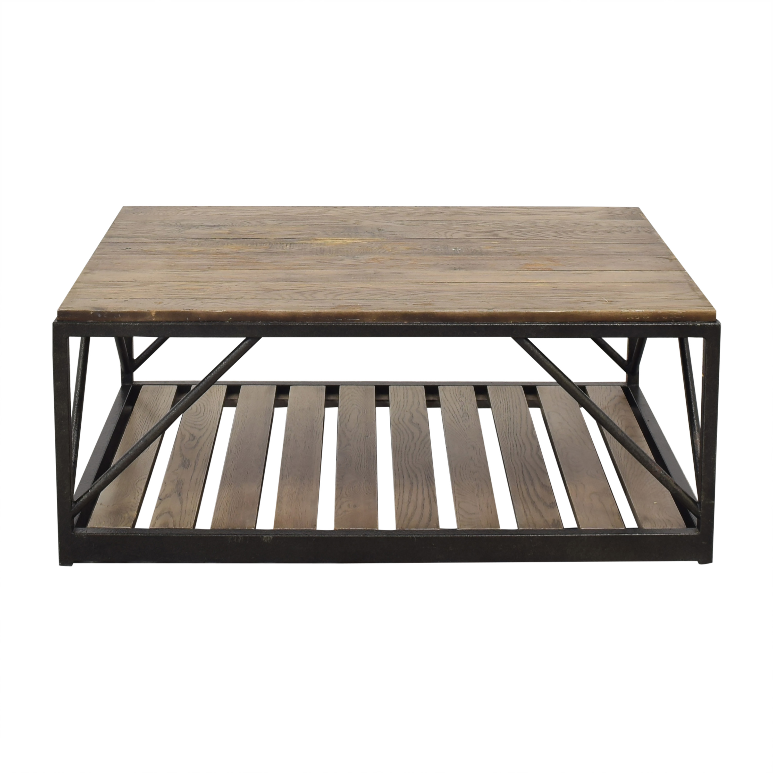Ethan Allen Beam Metal Base Coffee Table / Tables