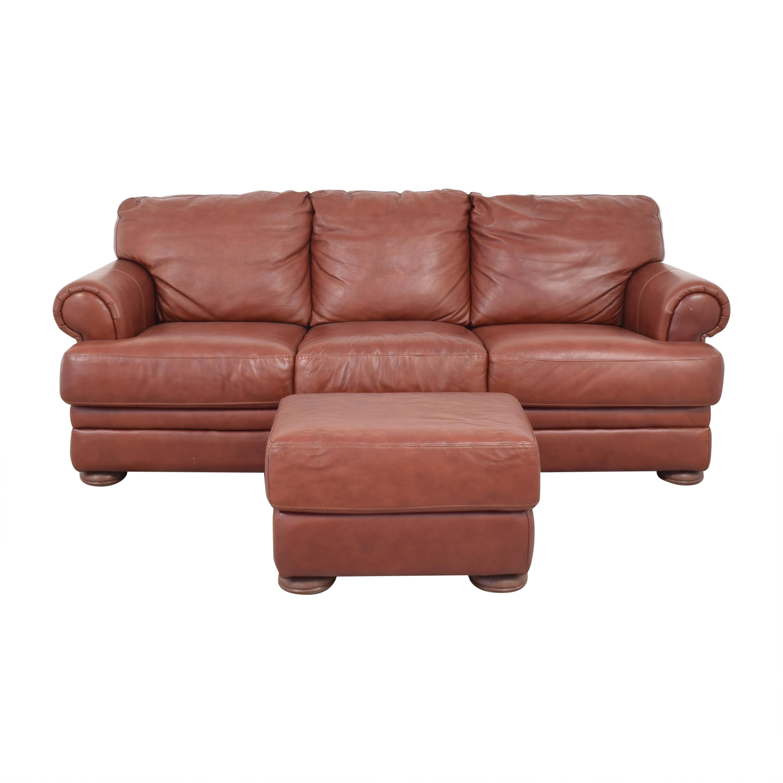 Macy's Macy's Three Cushion Sofa and Ottoman Sofas