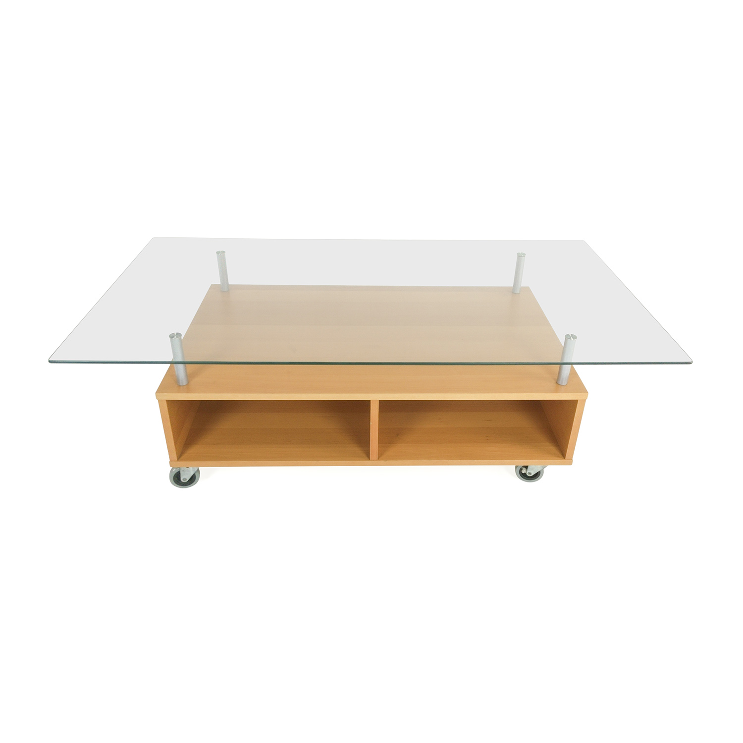 IKEA Glass Coffee Table with Storage for sale