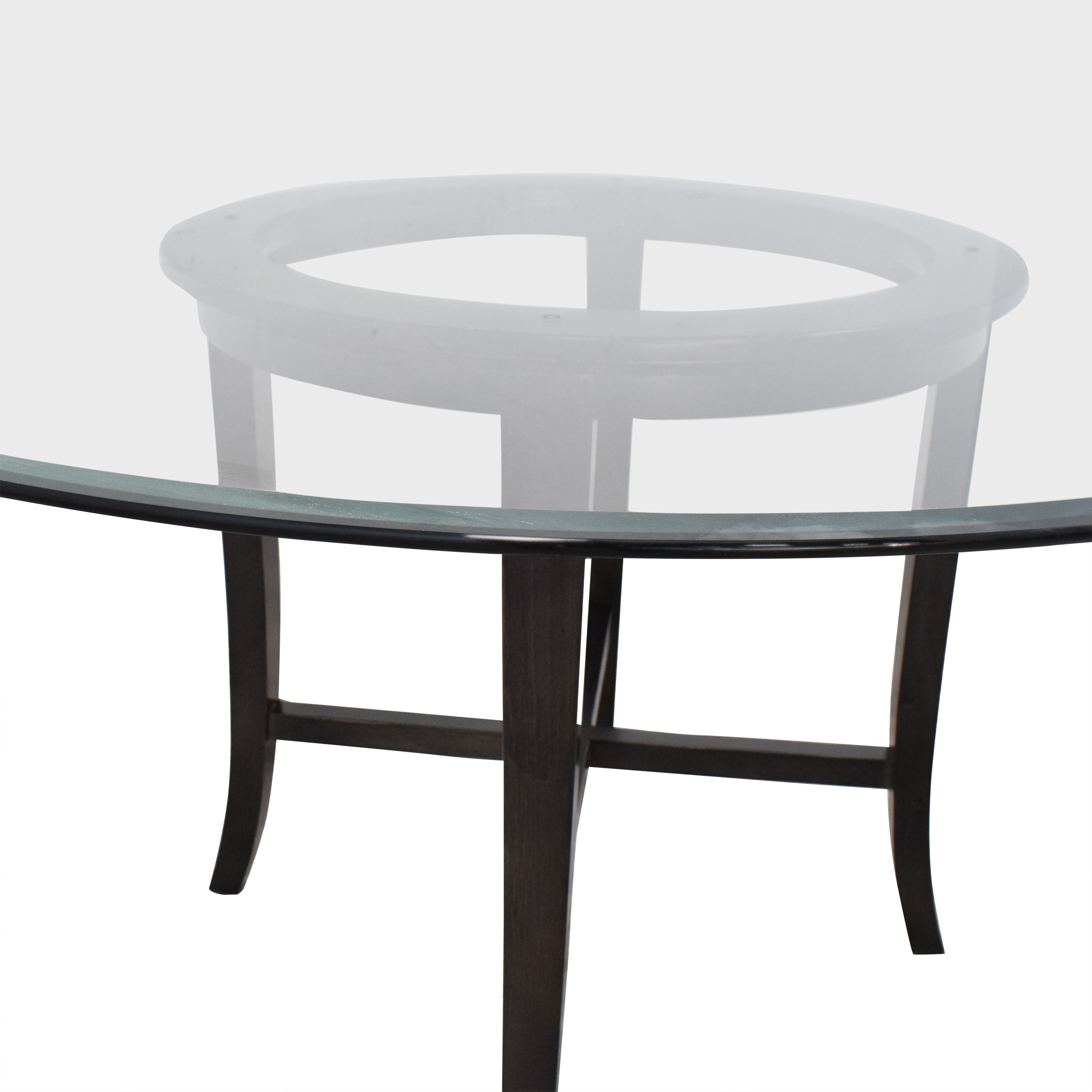 Crate & Barrel Crate & Barrel Halo Round Dining Table with Glass Top ma
