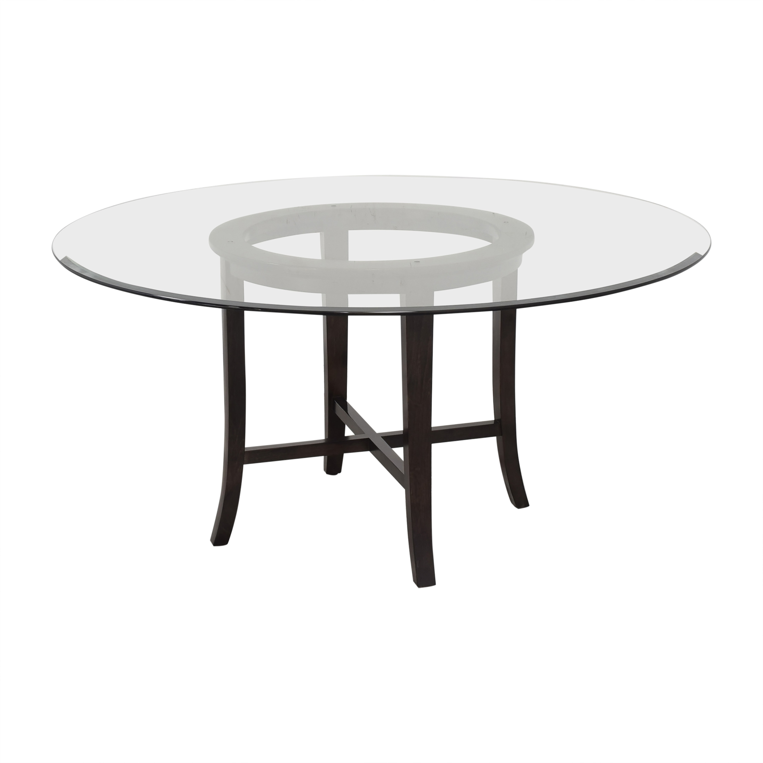shop Crate & Barrel Halo Round Dining Table with Glass Top Crate & Barrel Tables
