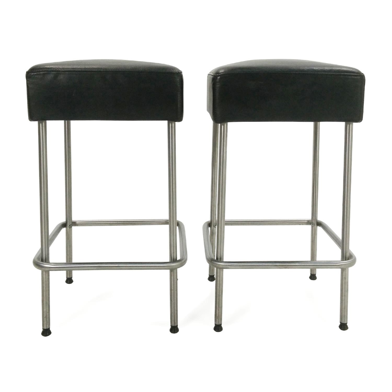 Etonnant IKEA Black Faux Leather Bar Stools / Stools