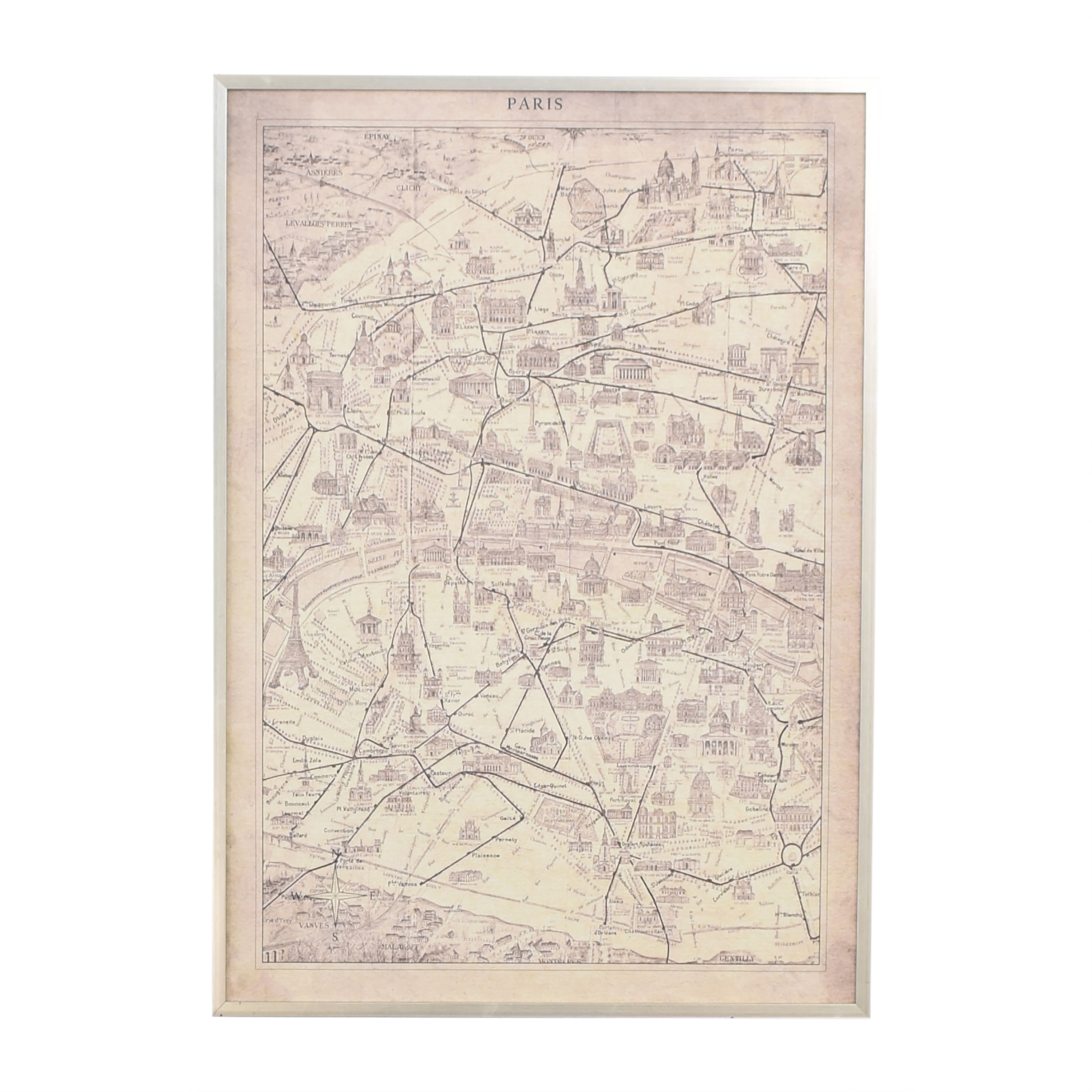 Ethan Allen Ethan Allen Framed Paris Map Wall Art ma