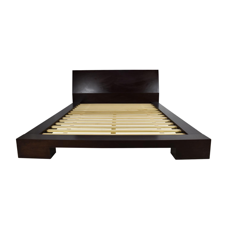 Bon 75% OFF   Dark Wood Queen Bed Frame / Beds