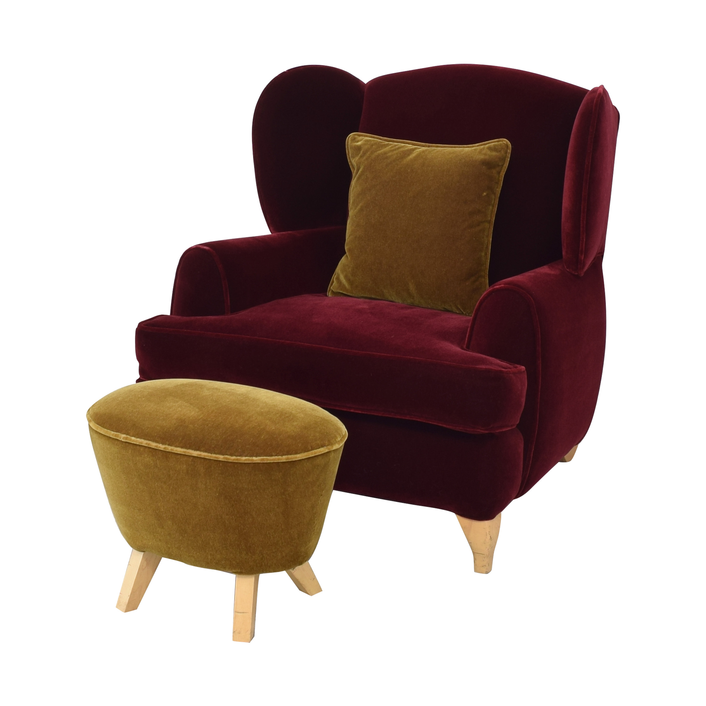 Custom Wingback Chair and Ottoman second hand
