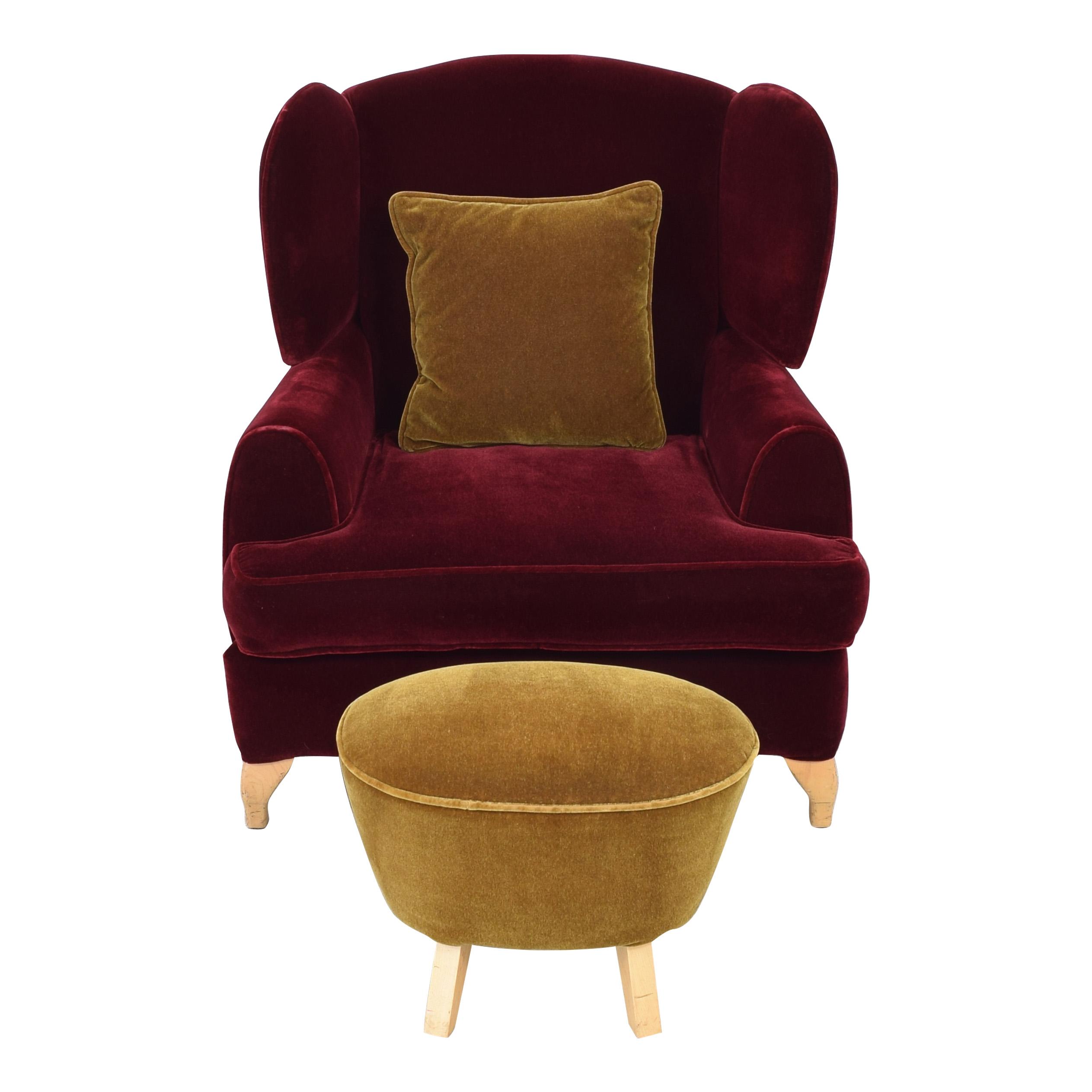 Custom Wingback Chair and Ottoman nyc