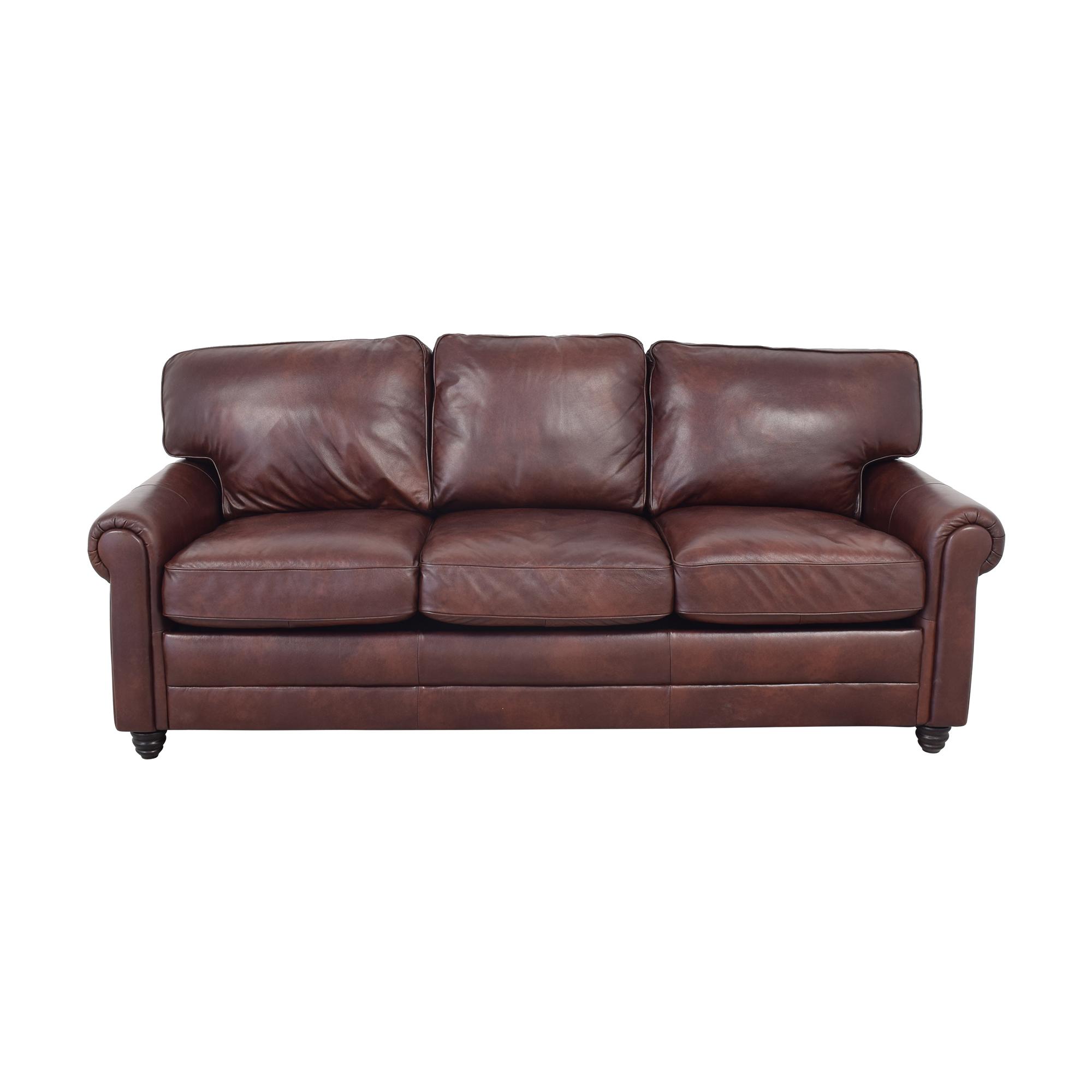 shop Wayfair Wayfair Lambdin Genuine Leather Round Arm Sofa online