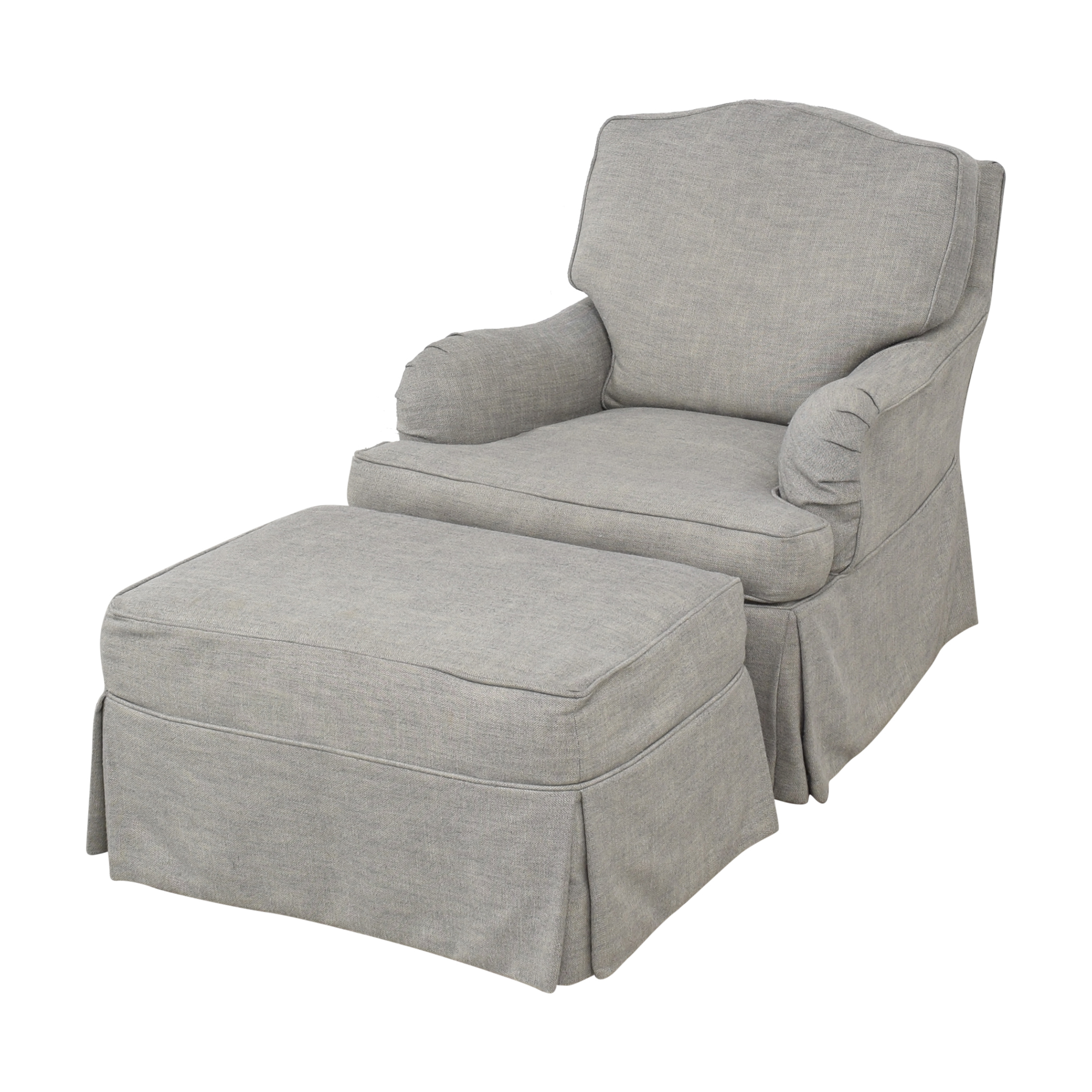 Restoration Hardware Restoration Hardware Classic Camelback Slipcovered Swivel Glider and Ottoman nyc