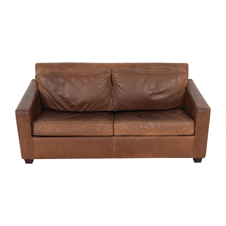 - 76% OFF - West Elm West Elm Harris Leather Queen Sleeper Sofa / Sofas