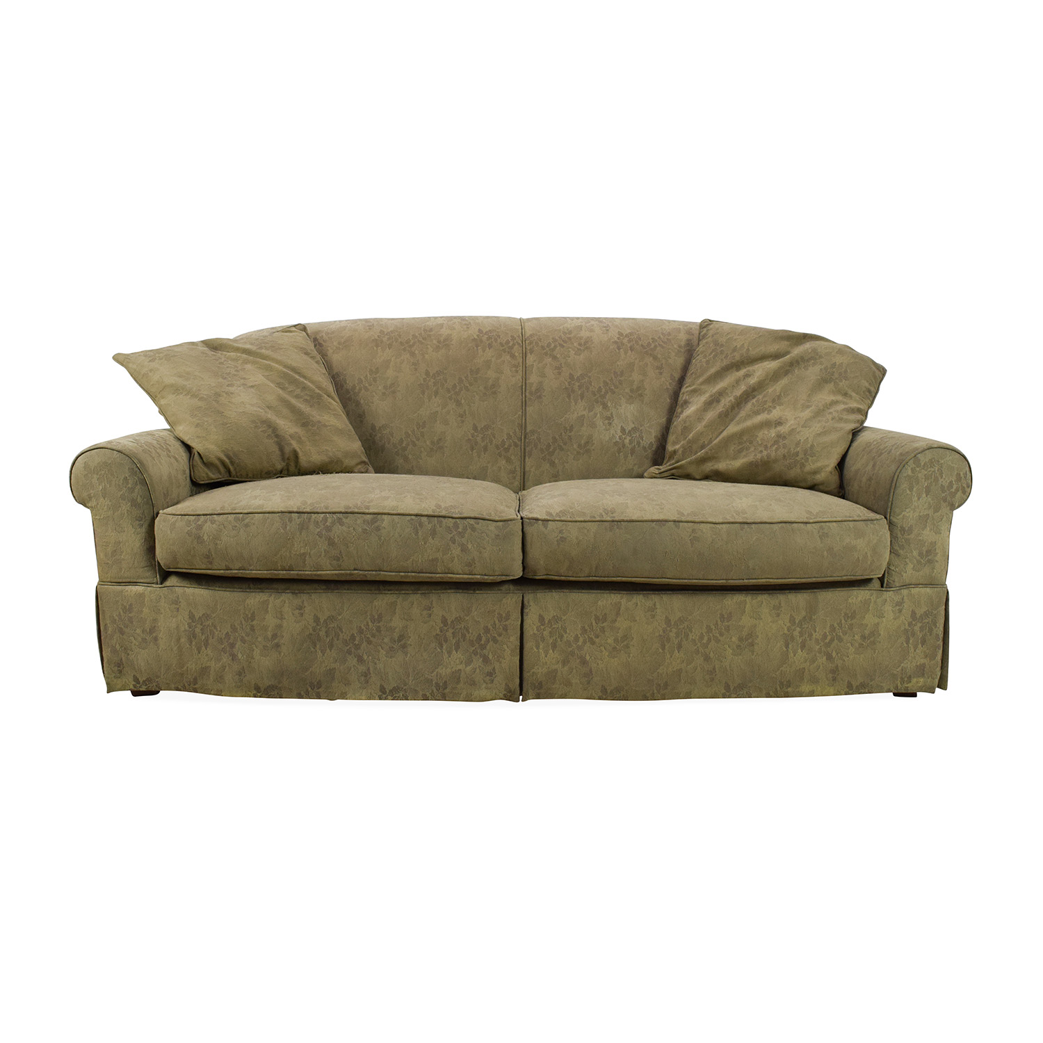 76% OFF Leather and Suede Three Seat Sofa Sofas