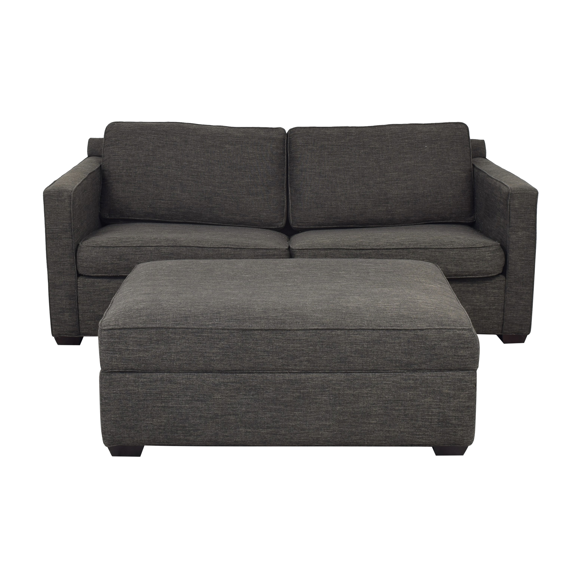 Crate & Barrel Crate & Barrel Davis Queen Sleeper Sofa and Storage Ottoman