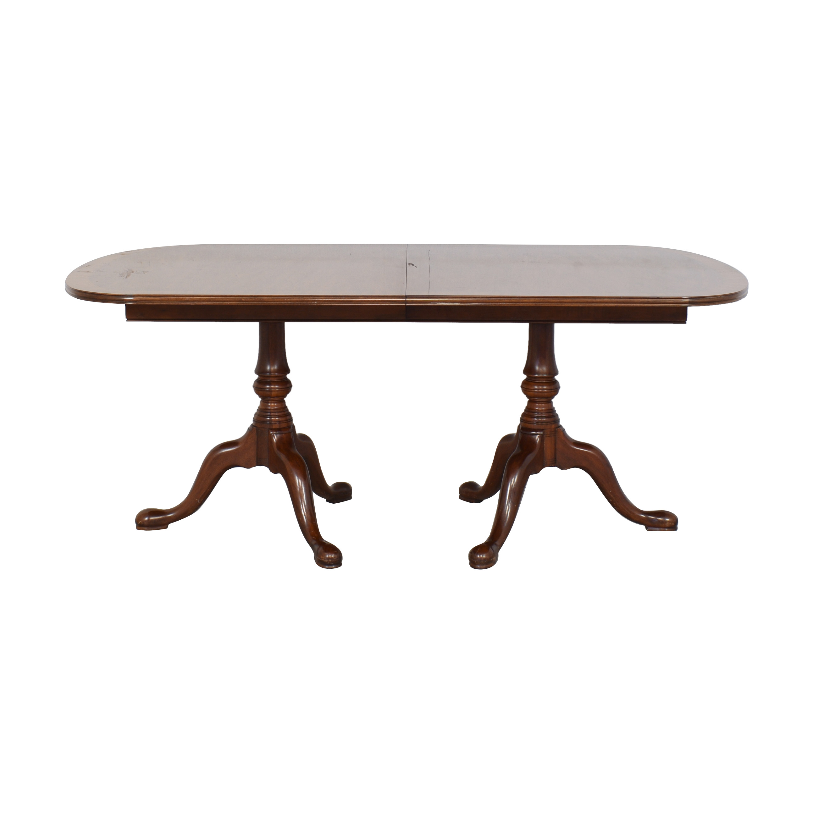 Henkel Harris Henkel harris Double Pedestal Banded Mahogany Dining Table ct