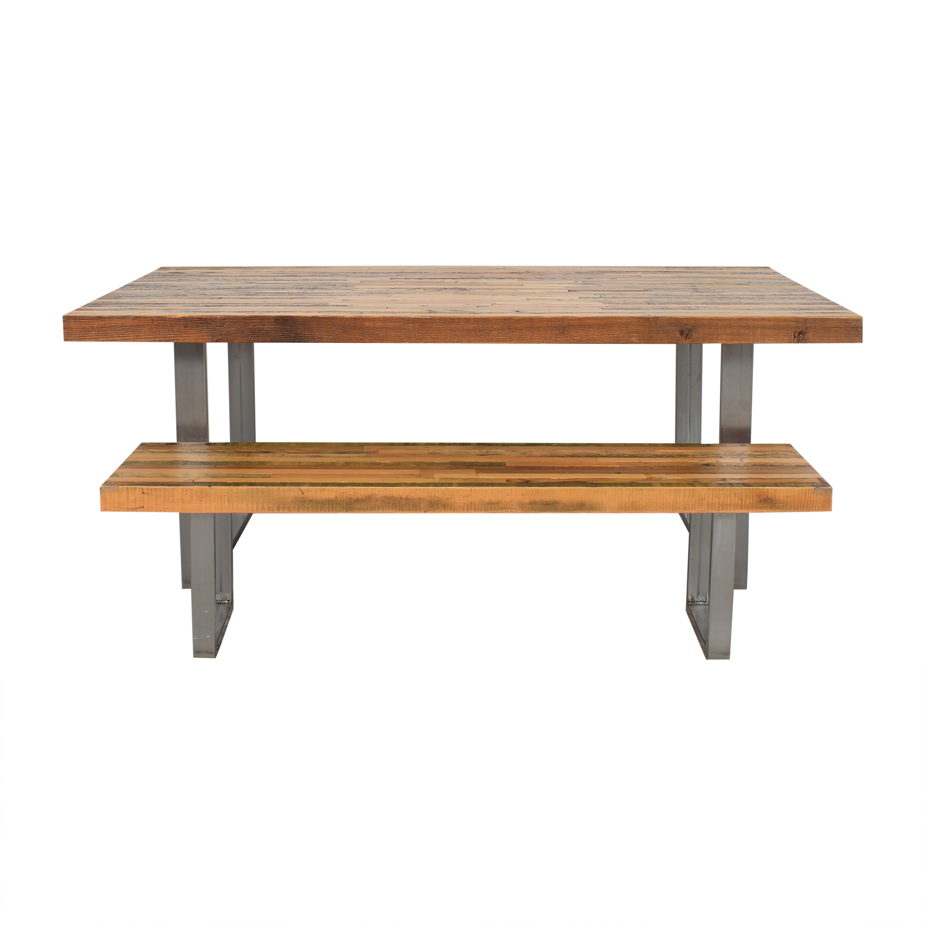 Kage Design Studio Kage Design Studio Modern Industrial Reclaimed Wood Table with Bench on sale