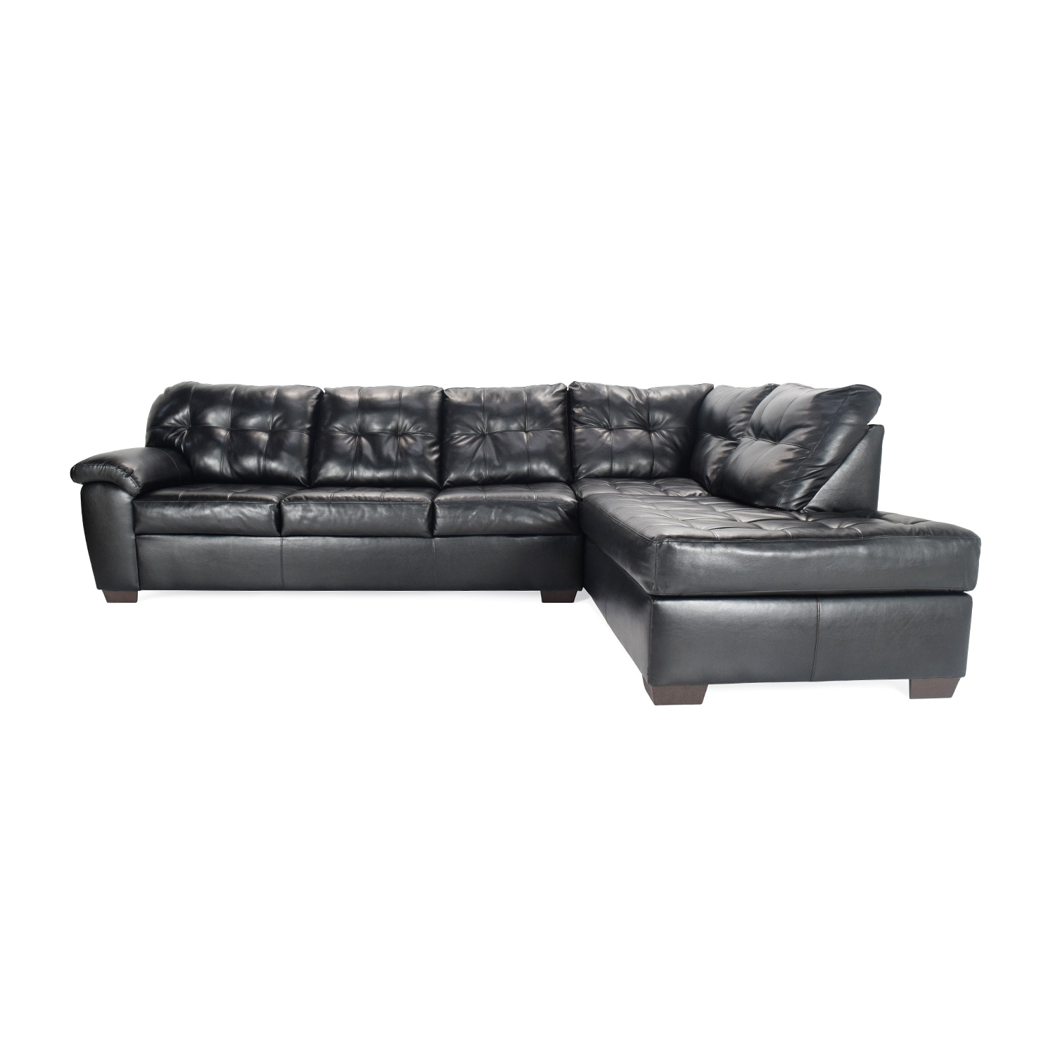 51 Off Bob S Discount Furniture Black Faux Leather Sectional Sofas