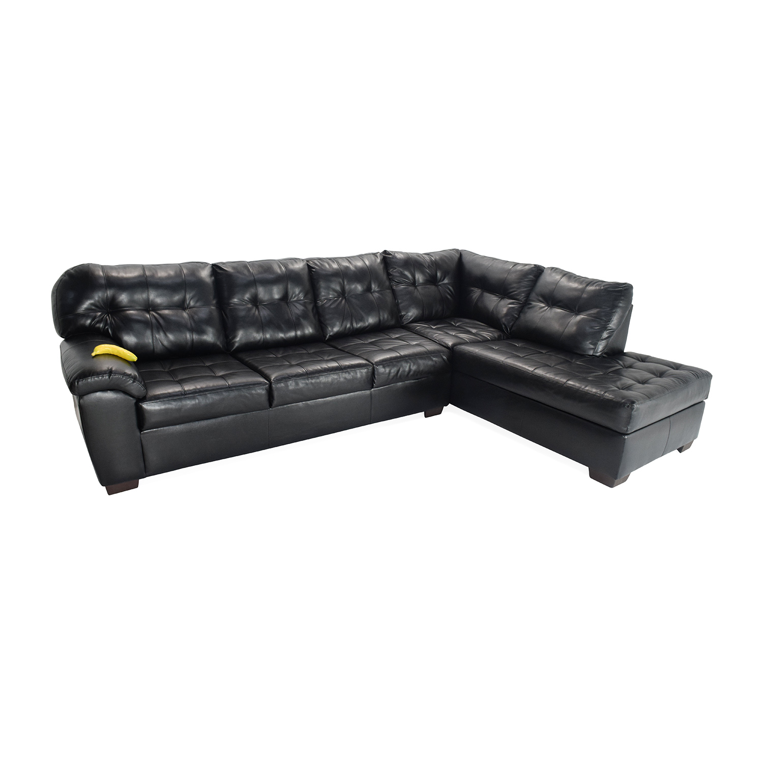 51% OFF - Bob's Discount Furniture Black Faux Leather ...