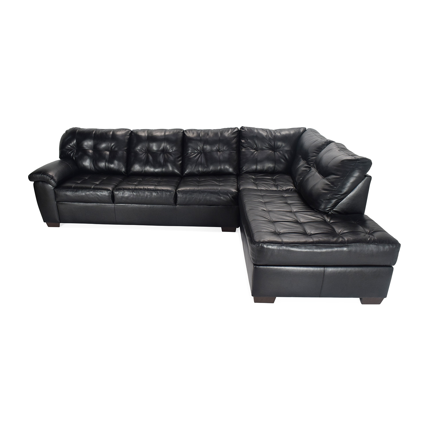 Awe Inspiring 51 Off Bobs Discount Furniture Black Faux Leather Sectional Sofas Spiritservingveterans Wood Chair Design Ideas Spiritservingveteransorg