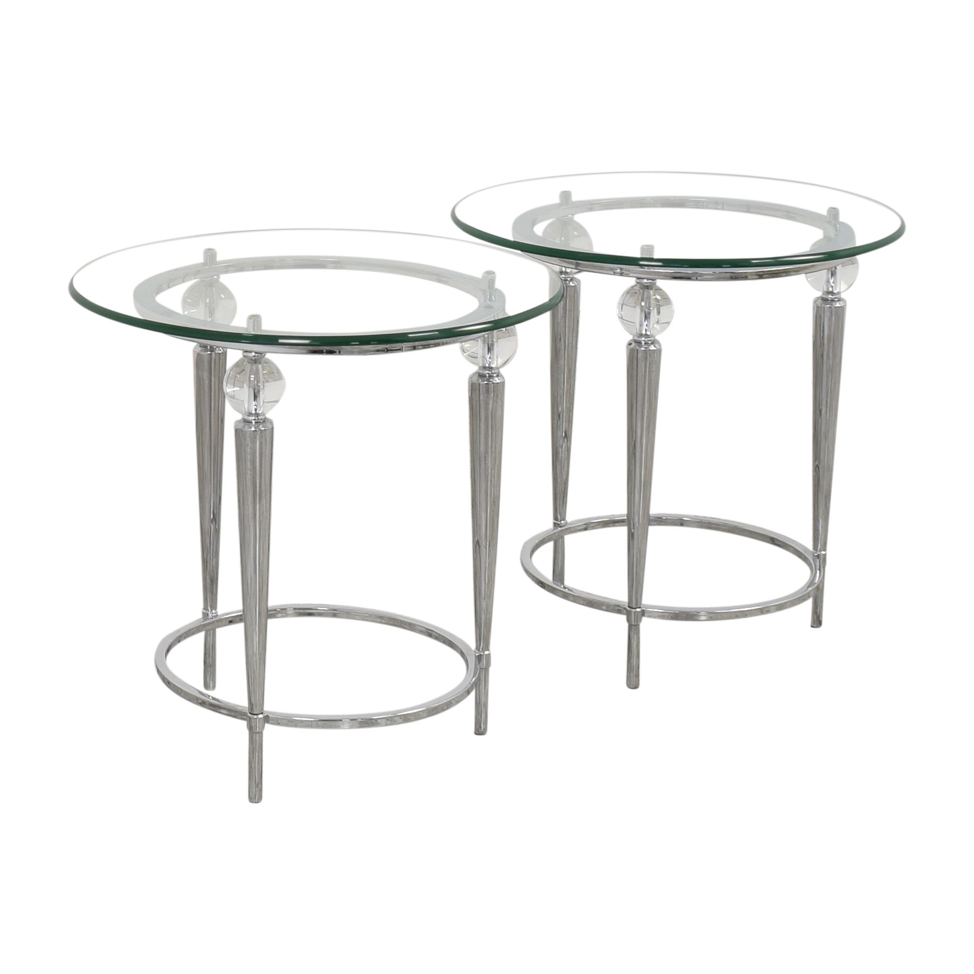 AllModern AllModern Round Glass Top Side Tables for sale
