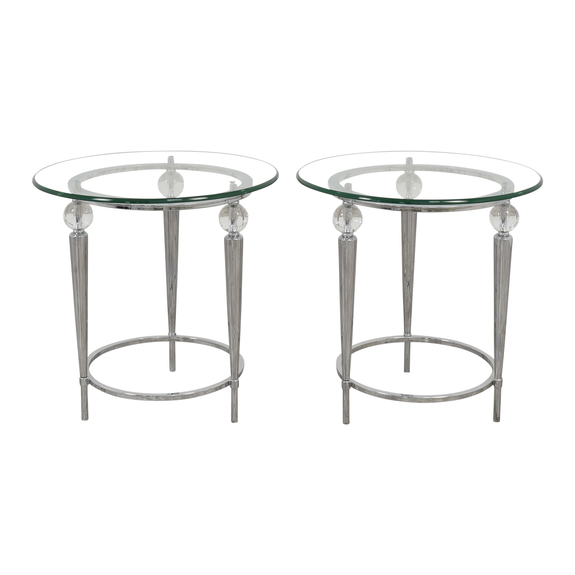 AllModern Round Glass Top Side Tables / End Tables