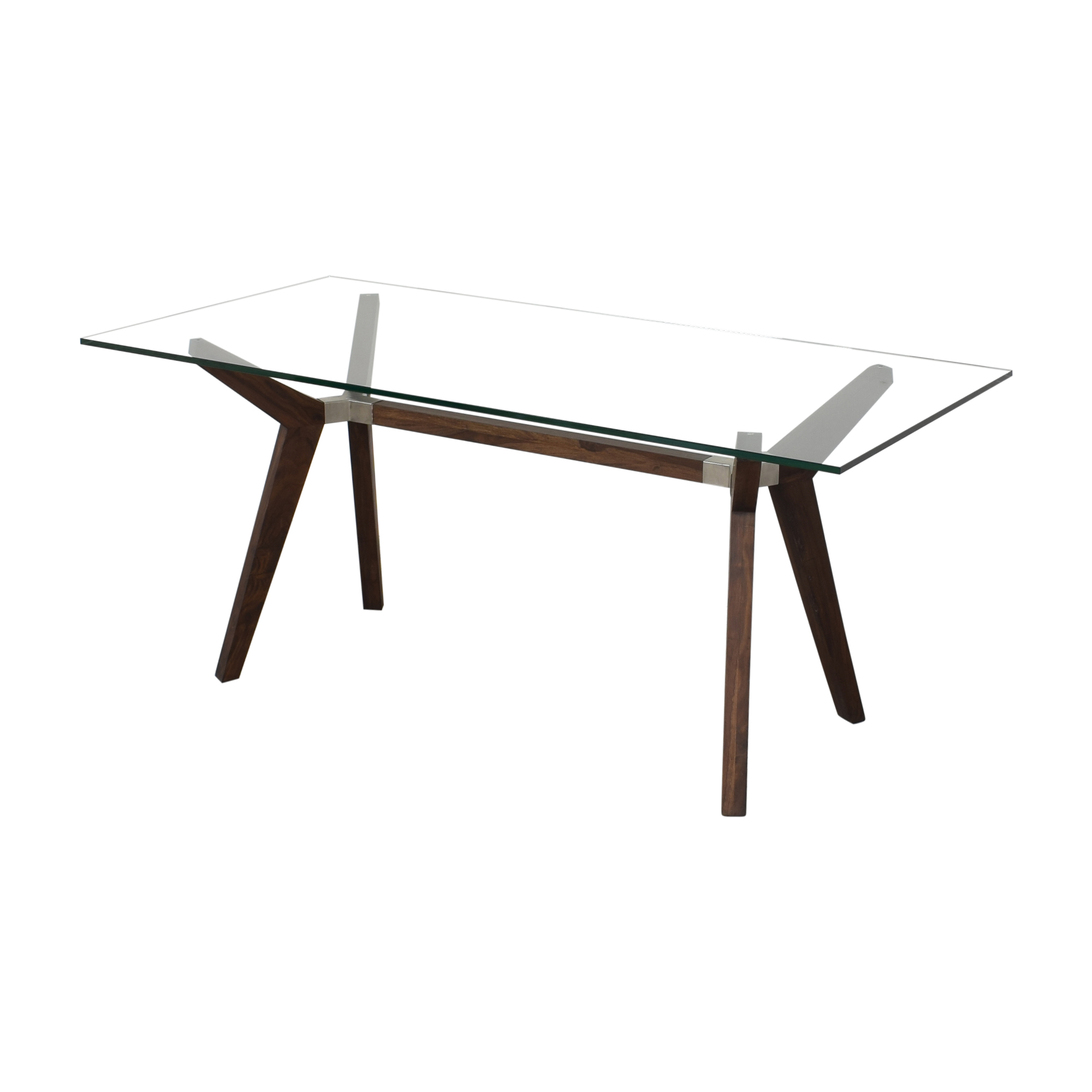 Crate & Barrel Crate & Barrel Strut Bourbon Glass Top Table Dinner Tables