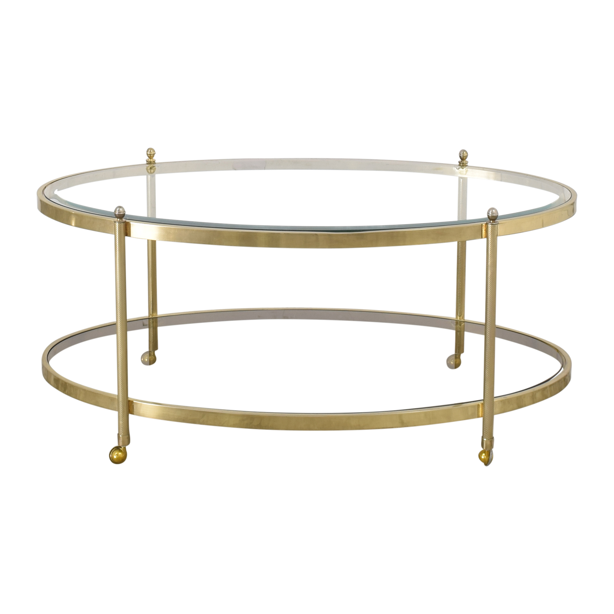 Oval Glass Top Coffee Table with Casters