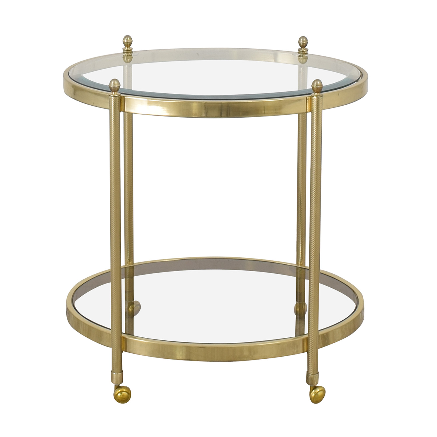 Oval Brass and Glass End Table with Casters / End Tables