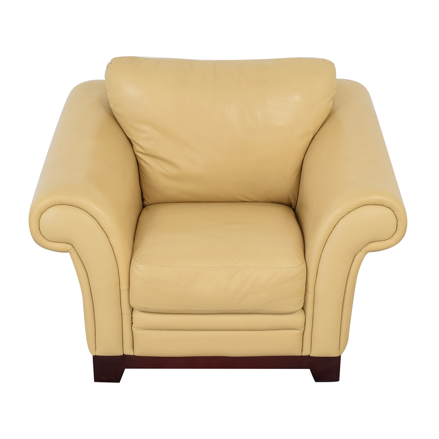 Castro Convertibles Castro Convertibles Yellow Leather Armchair pa