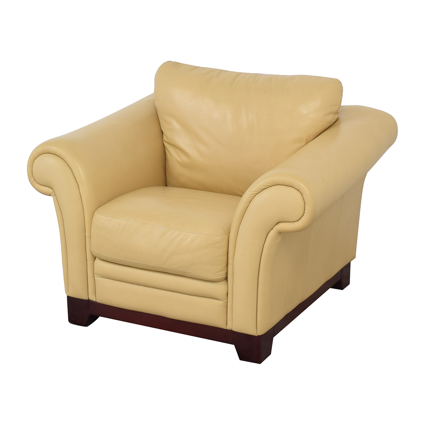 Castro Convertibles Castro Convertibles Yellow Leather Armchair for sale