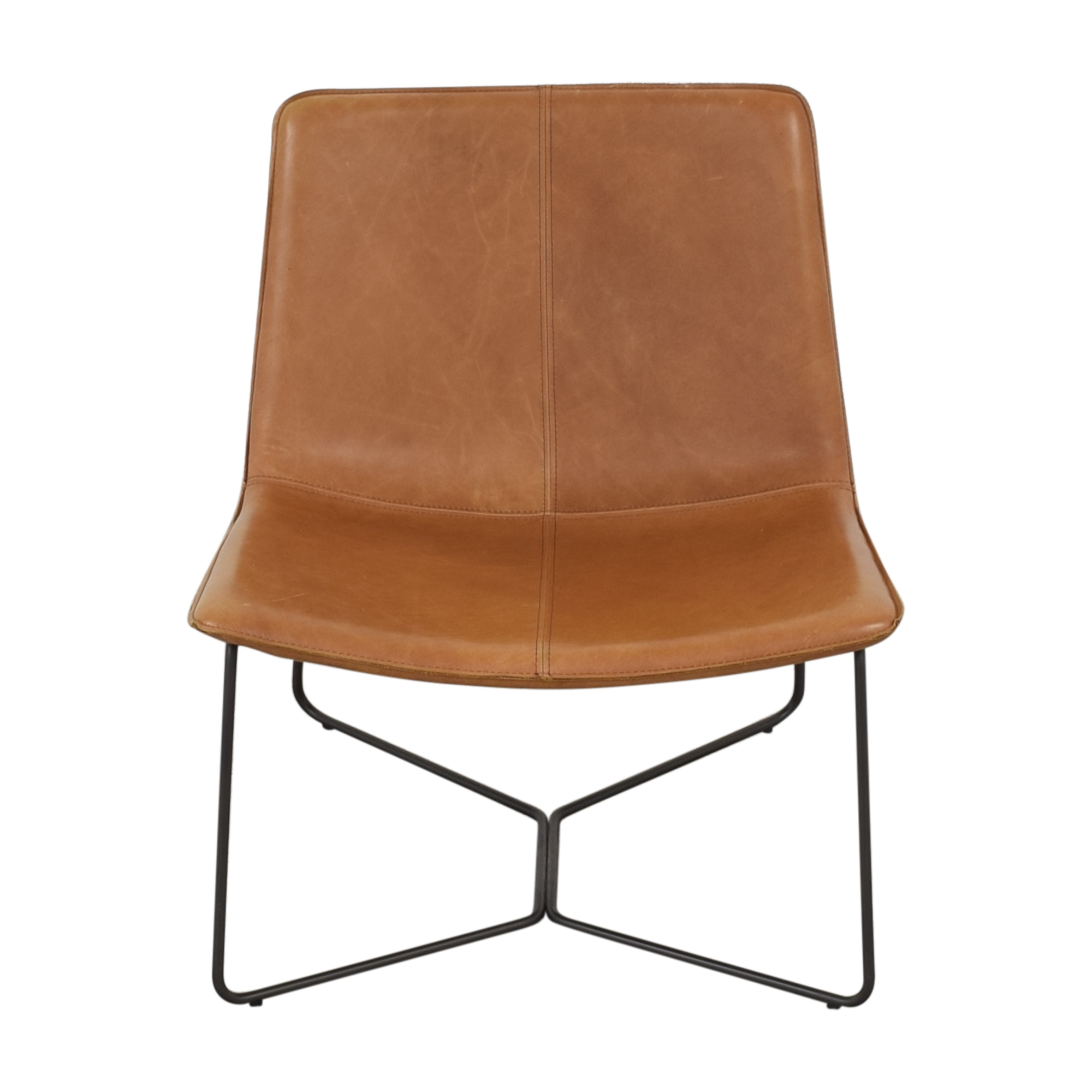 West Elm West Elm Slope Leather Lounge Chair brown and black