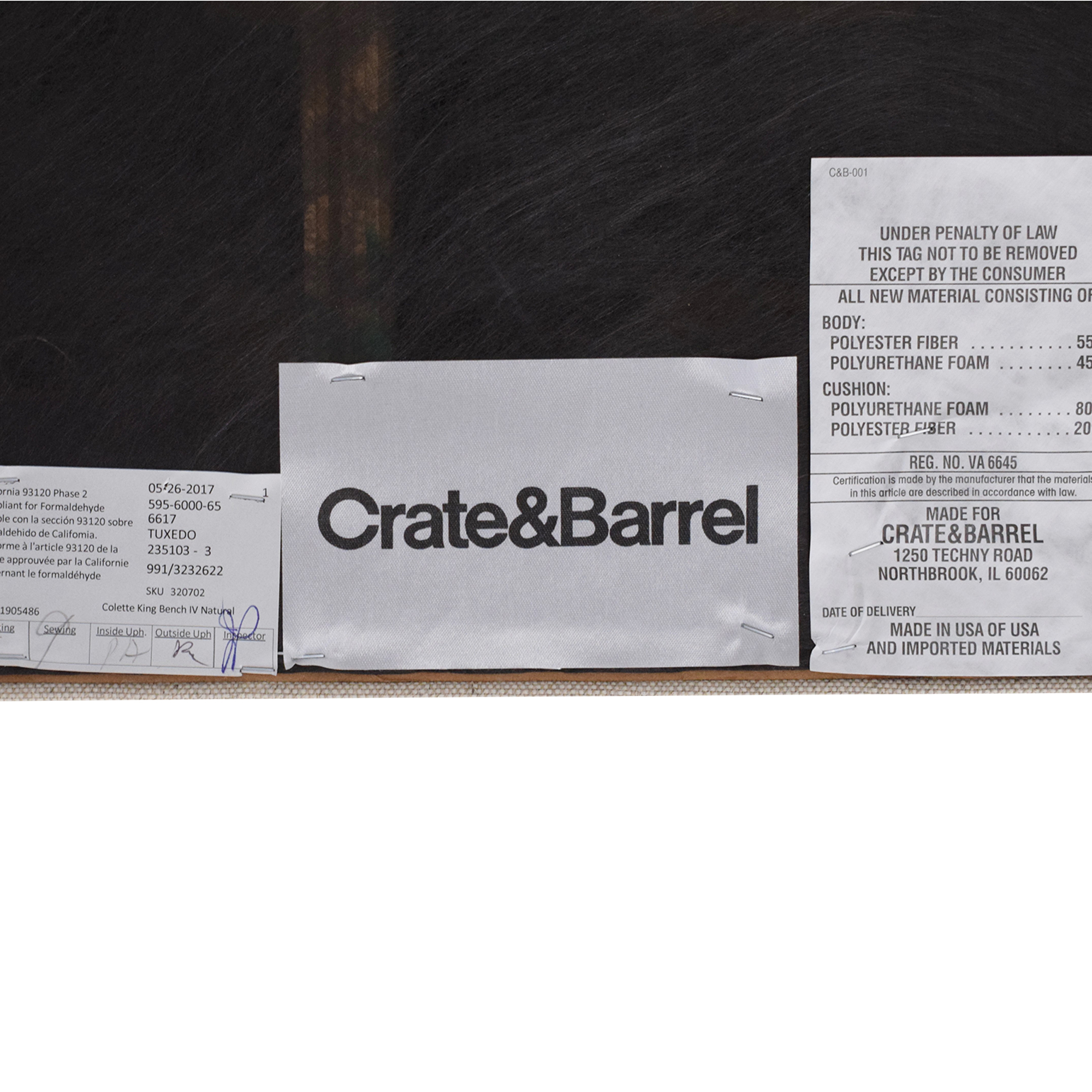 buy Crate & Barrel Colette King Bench Crate & Barrel Benches